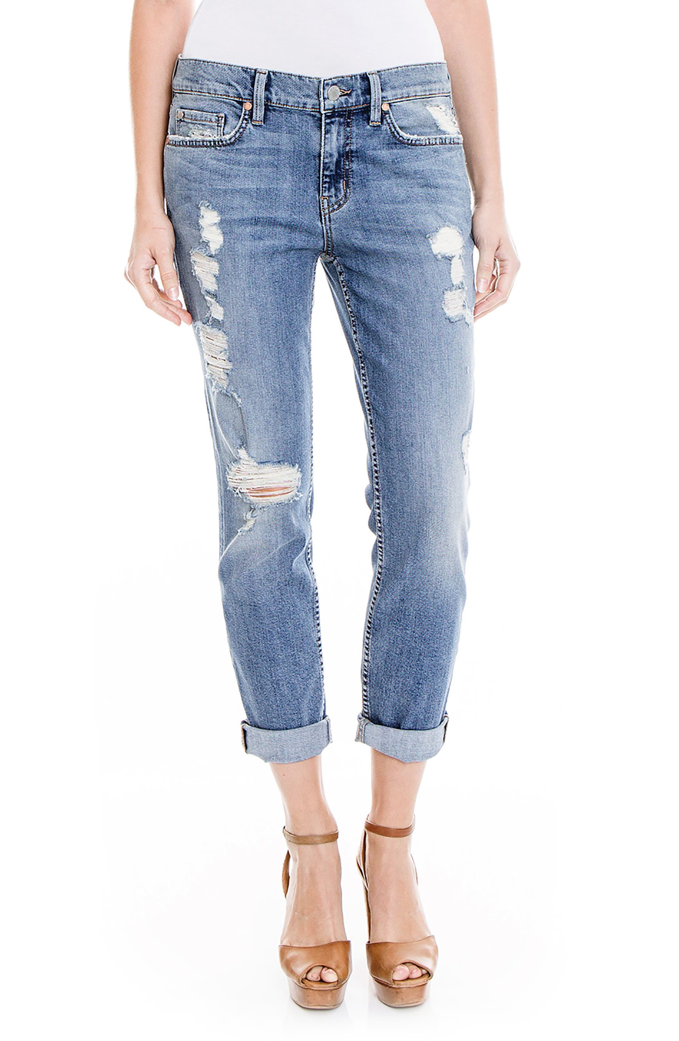 Main Image - Level 99 Sienna Stretch Distressed Ankle Cuff Jeans