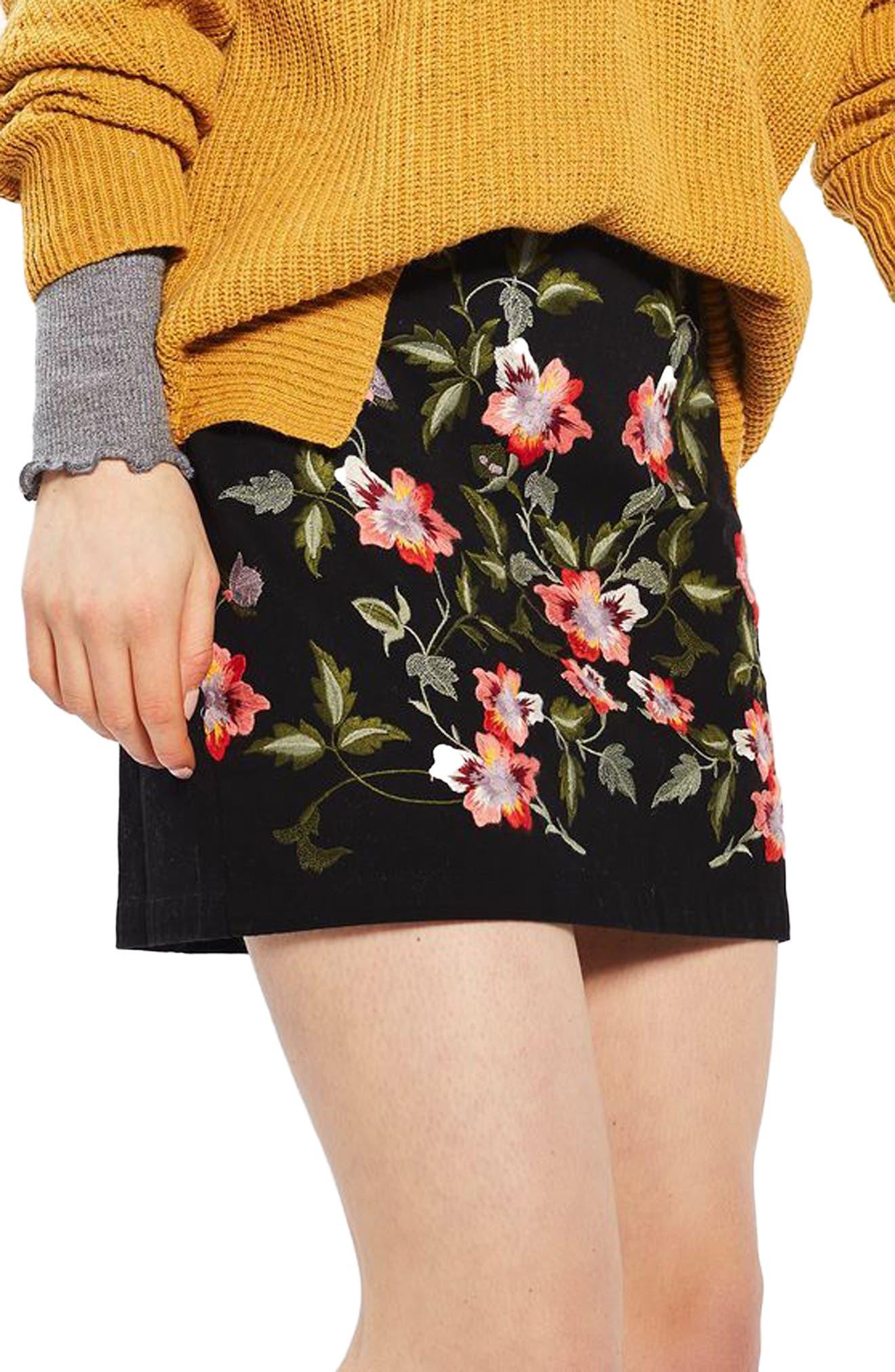 Alternate Image 1 Selected - Topshop Ivy Flower Embroidered Skirt