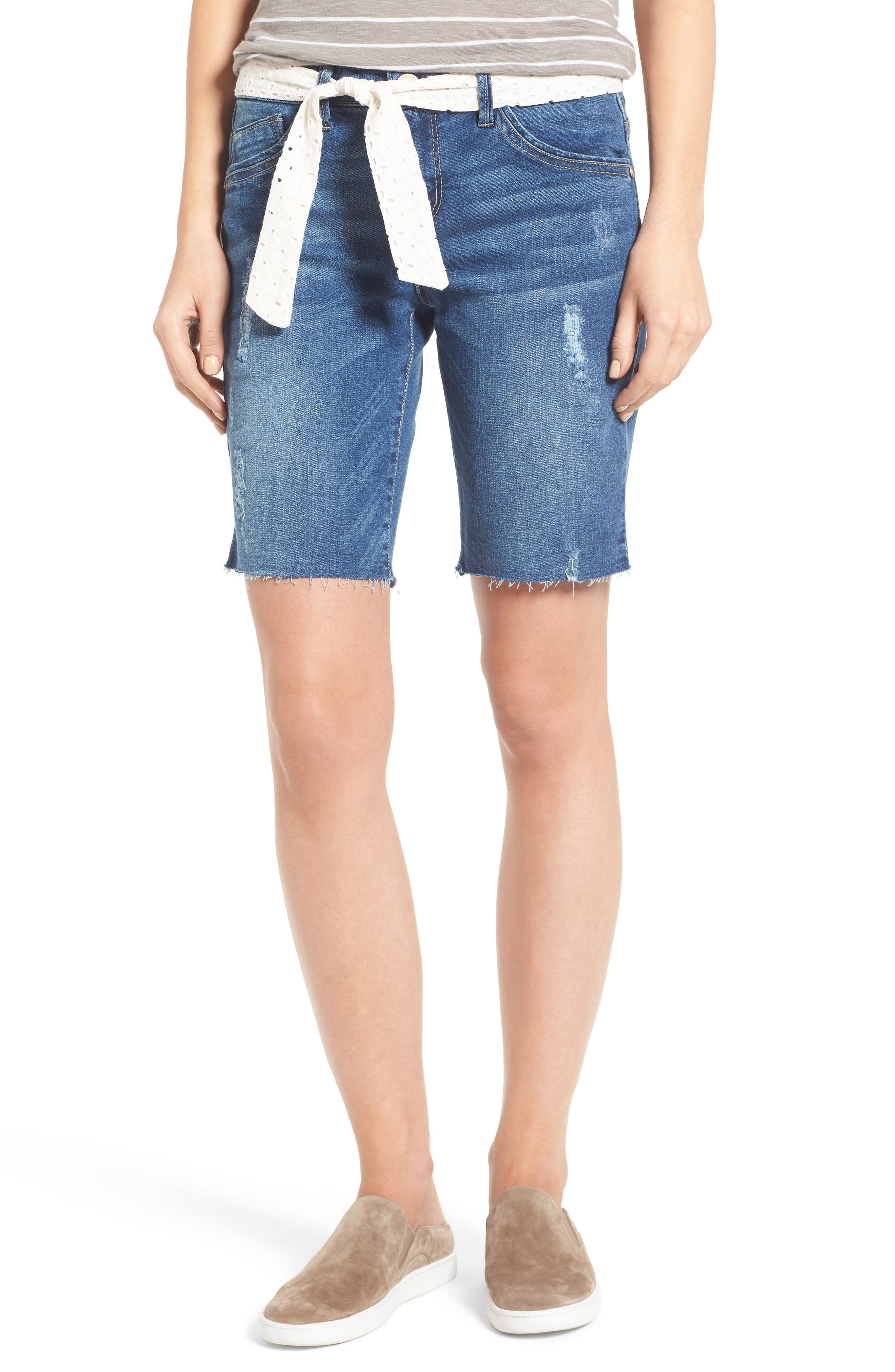 WIT & WISDOM Belted Denim Bermuda Shorts