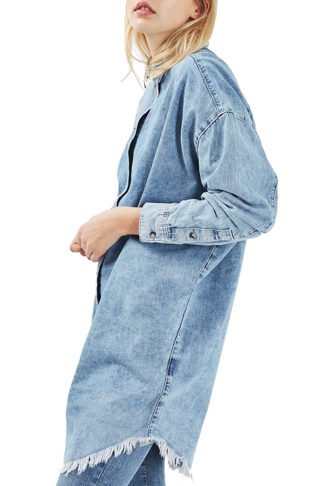 Alternate Image 1 Selected - Topshop Elton Fray Denim Shirtdress
