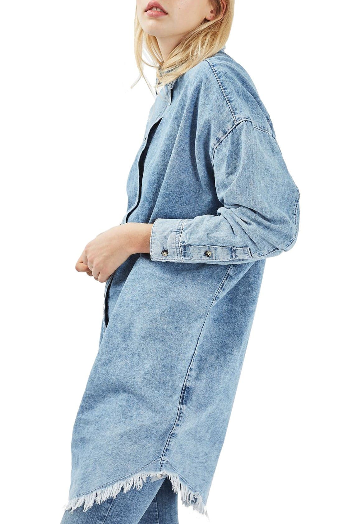 Main Image - Topshop Elton Fray Denim Shirtdress