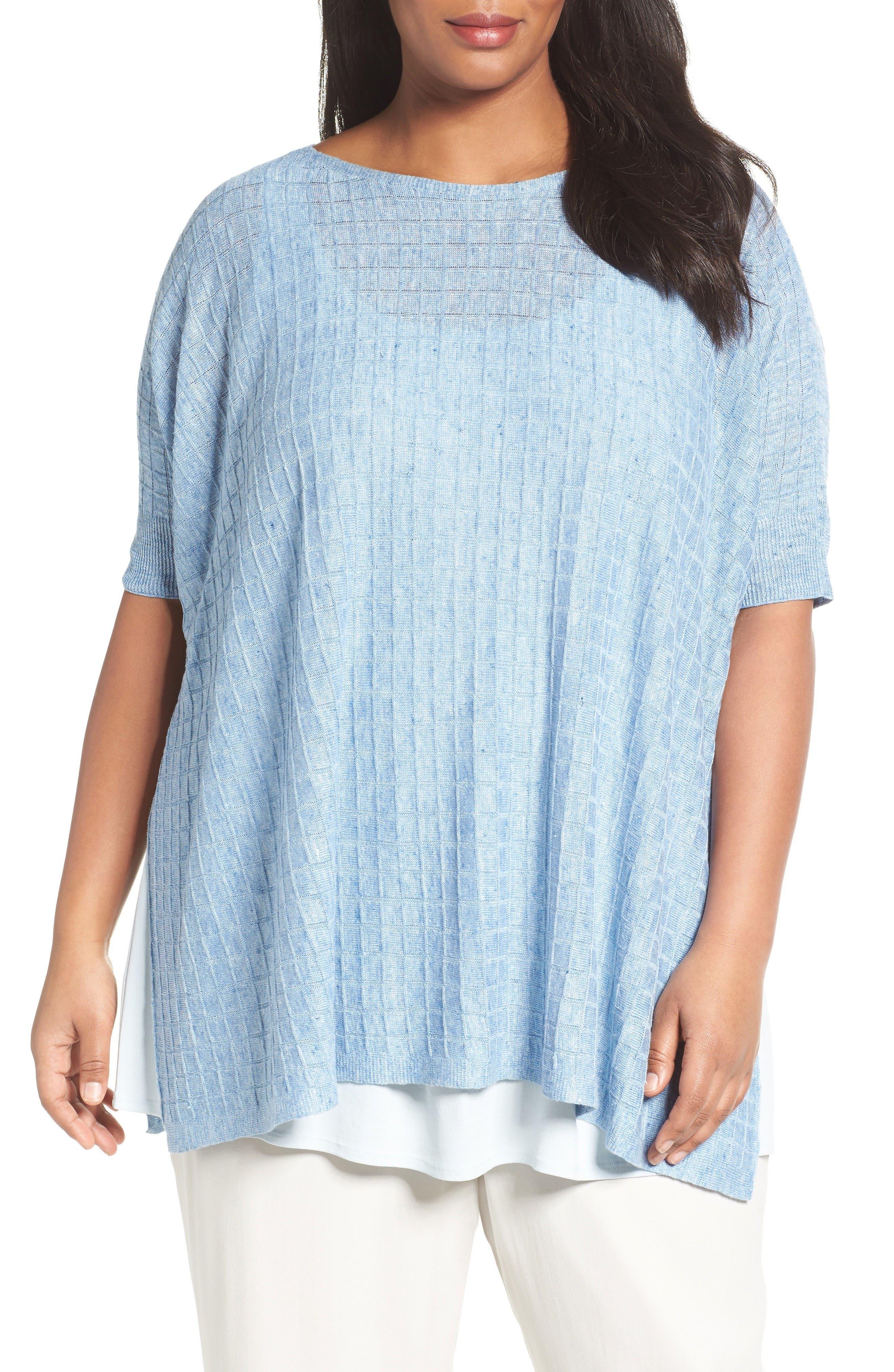 Eileen Fisher Lightweight Linen Side Slit Sweater (Plus Size)