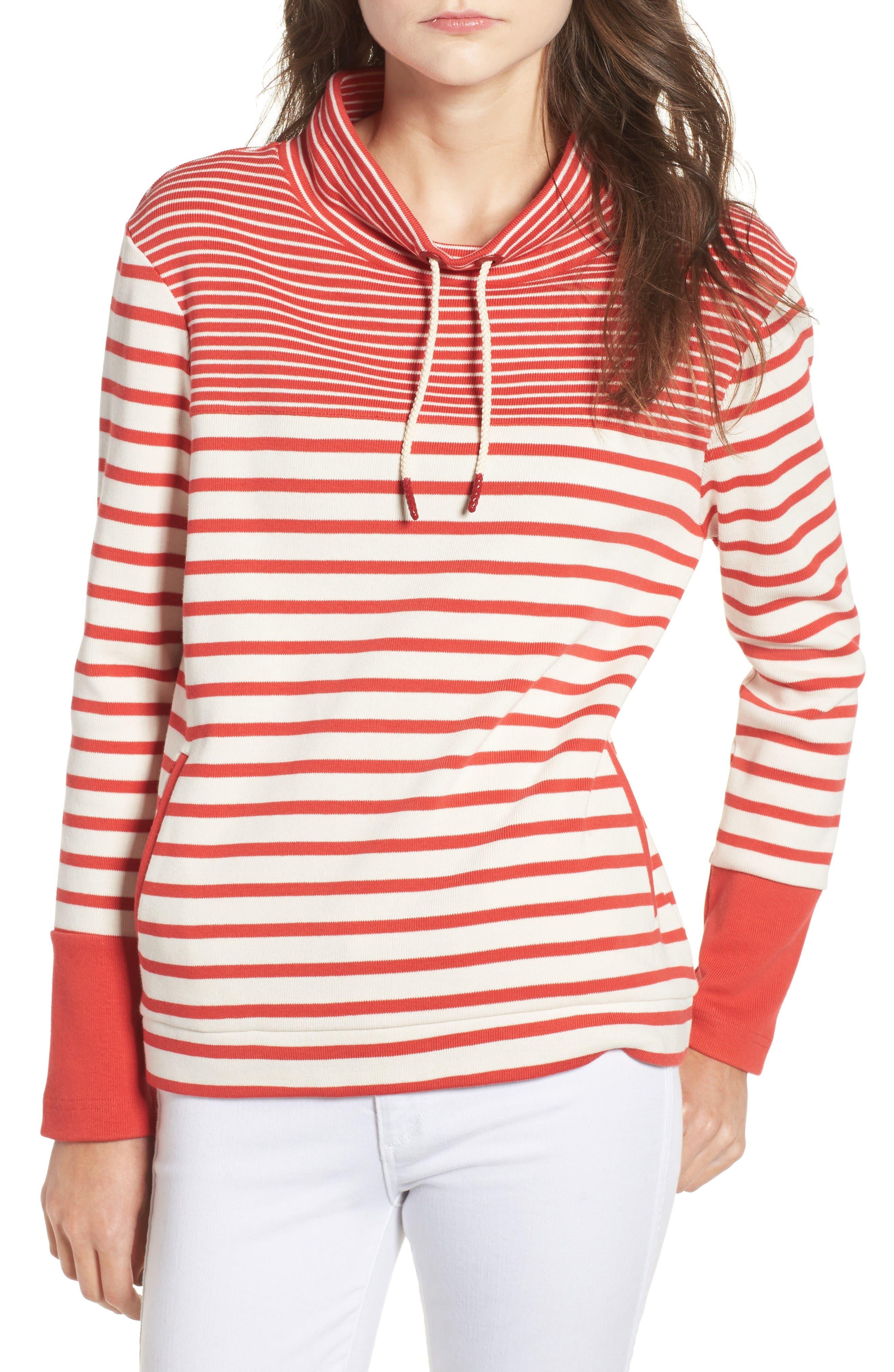 Barbour Rief Stripe Cotton Funnel Neck Sweater