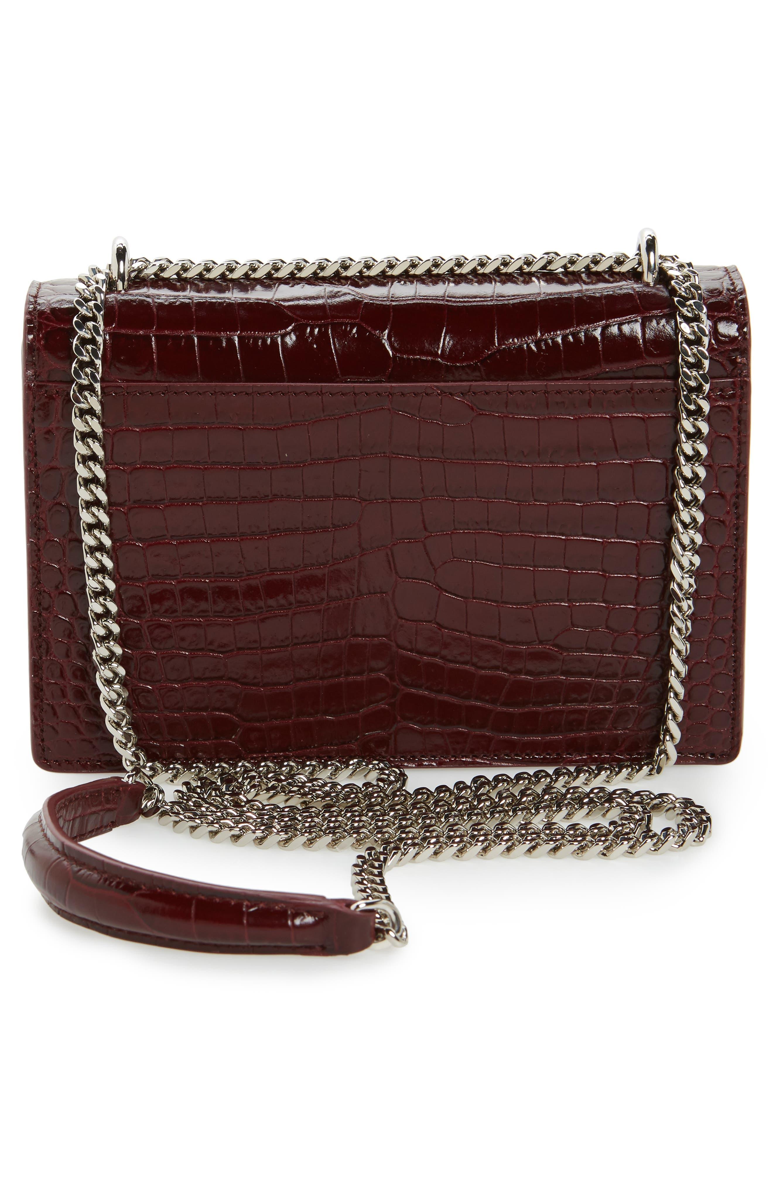 Alternate Image 2  - Saint Laurent Mini Monogram Sunset Croc Embossed Leather Shoulder Bag