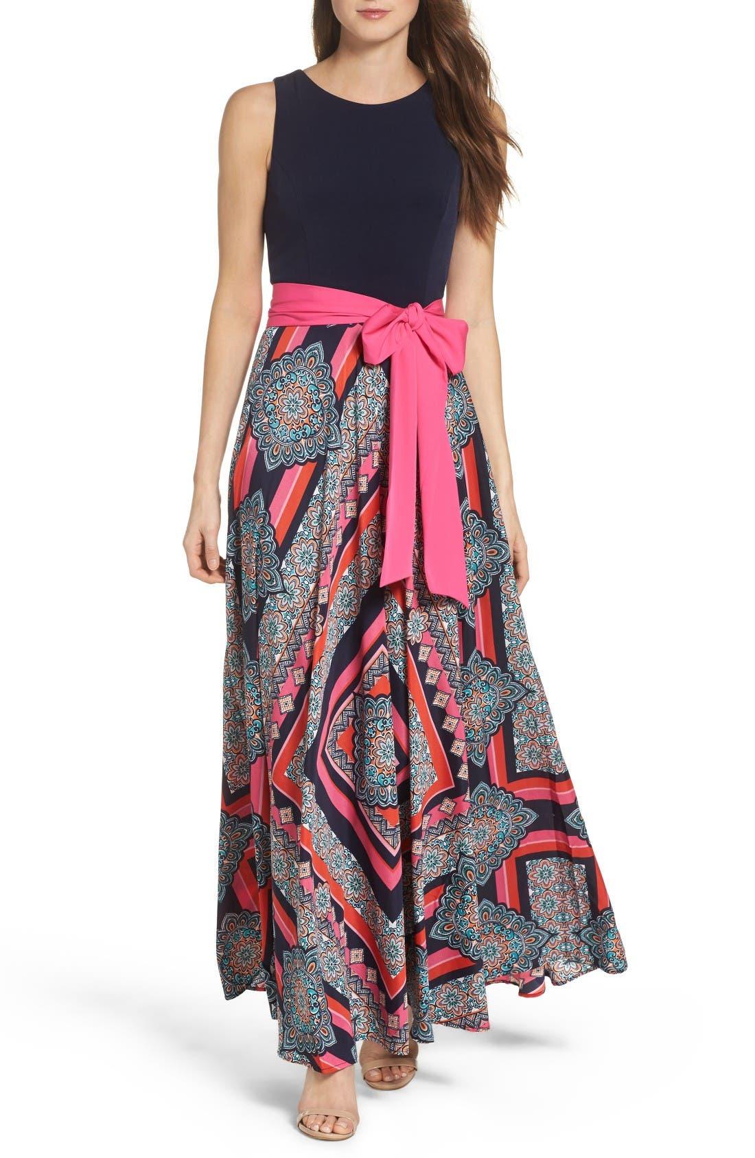 Alternate Image 1 Selected - Eliza J Jersey & Crêpe de Chine Maxi Dress