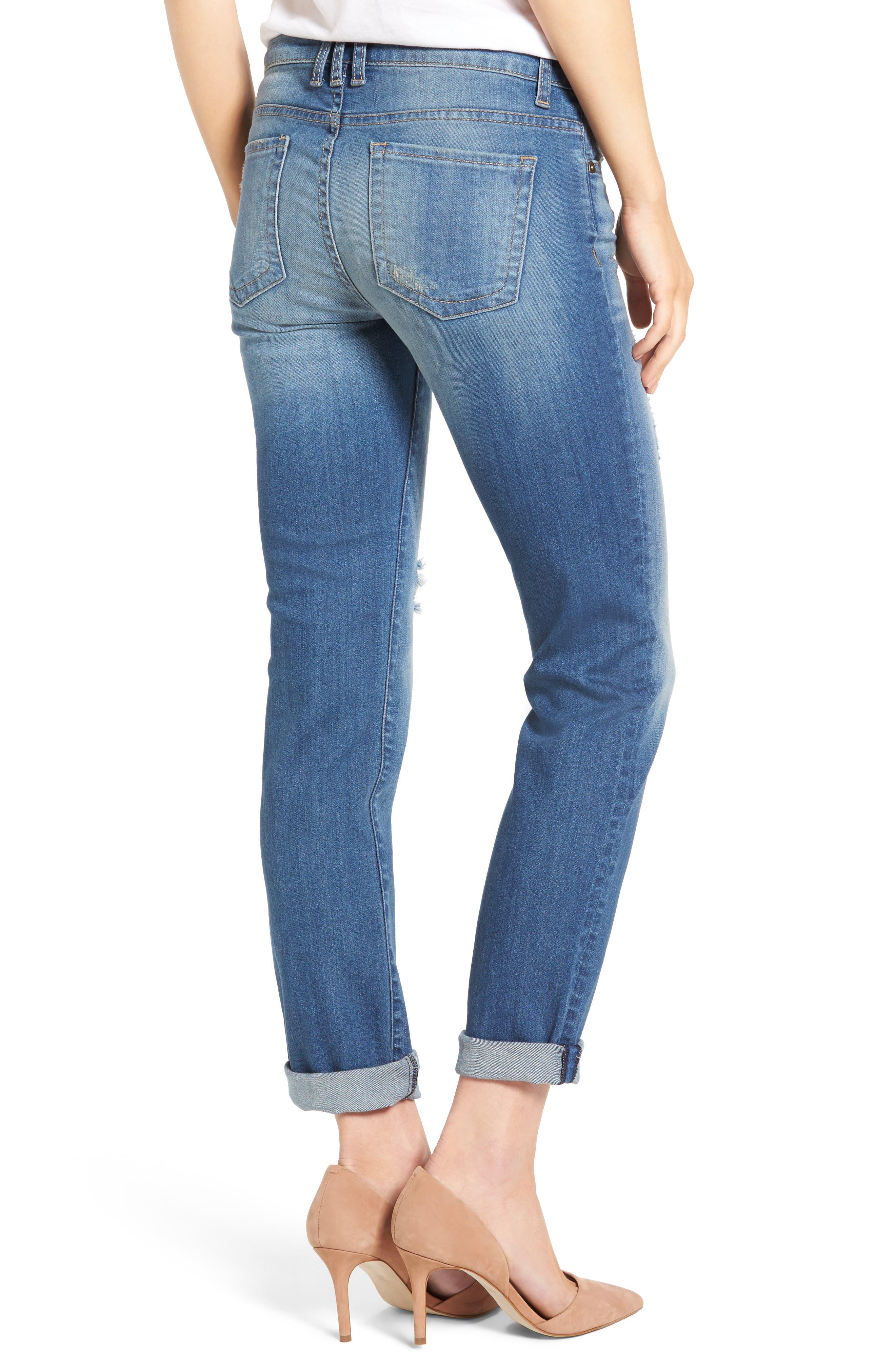 Alternate Image 2  - KUT from the Kloth Catherine Distressed Boyfriend Jeans (Fiery) (Regular & Petite)