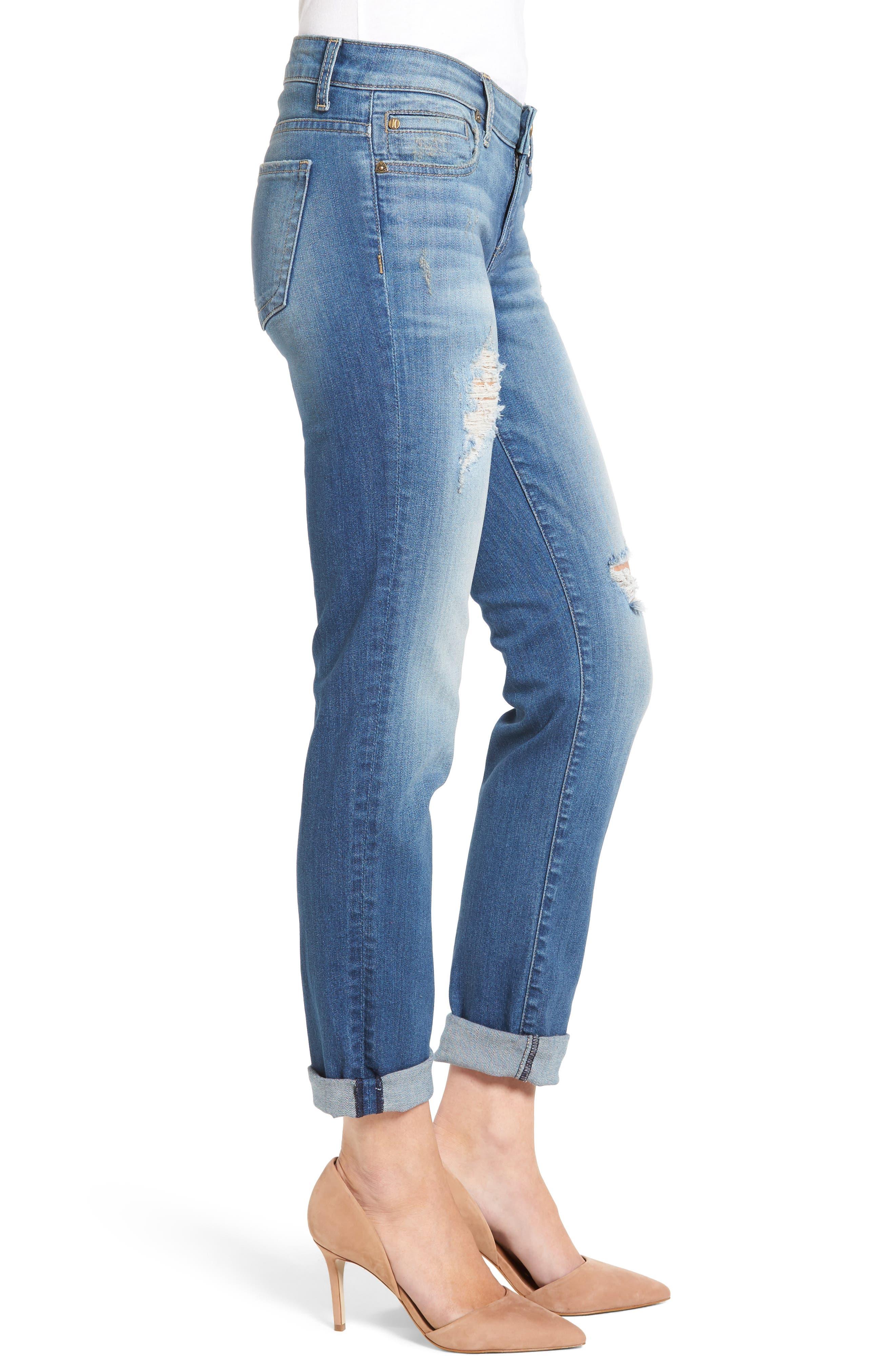 Alternate Image 3  - KUT from the Kloth Catherine Distressed Boyfriend Jeans (Fiery) (Regular & Petite)