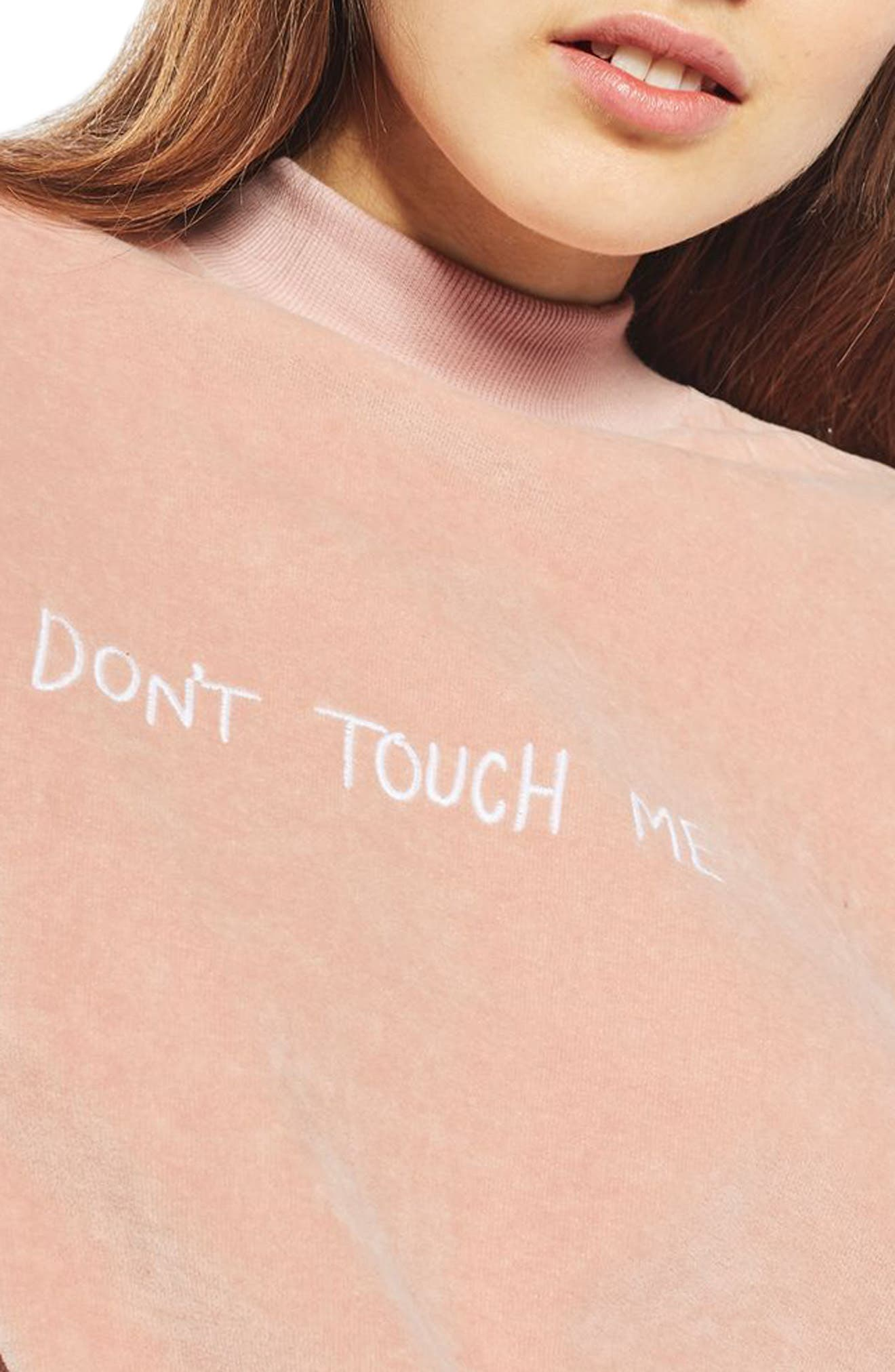 Alternate Image 5  - Topshop by Tee & Cake Don't Touch Me Velvet Sweatshirt