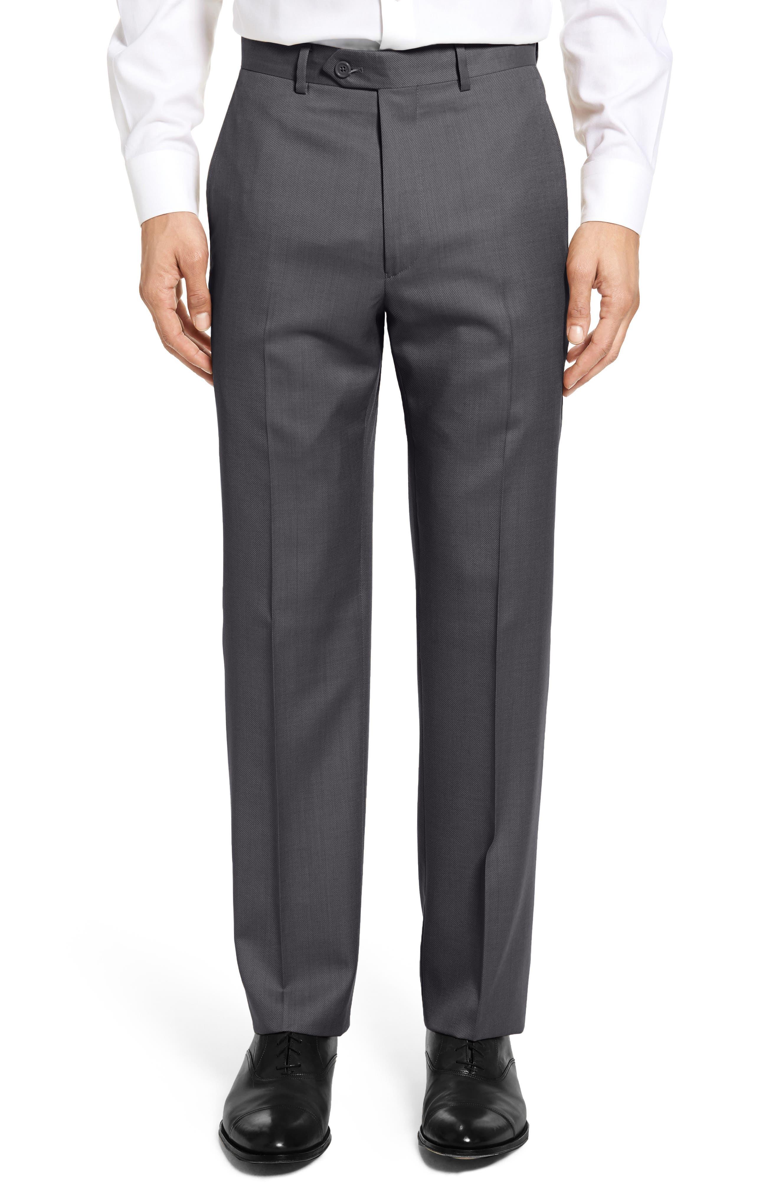 Santorelli Flat Front Twill Wool Trousers