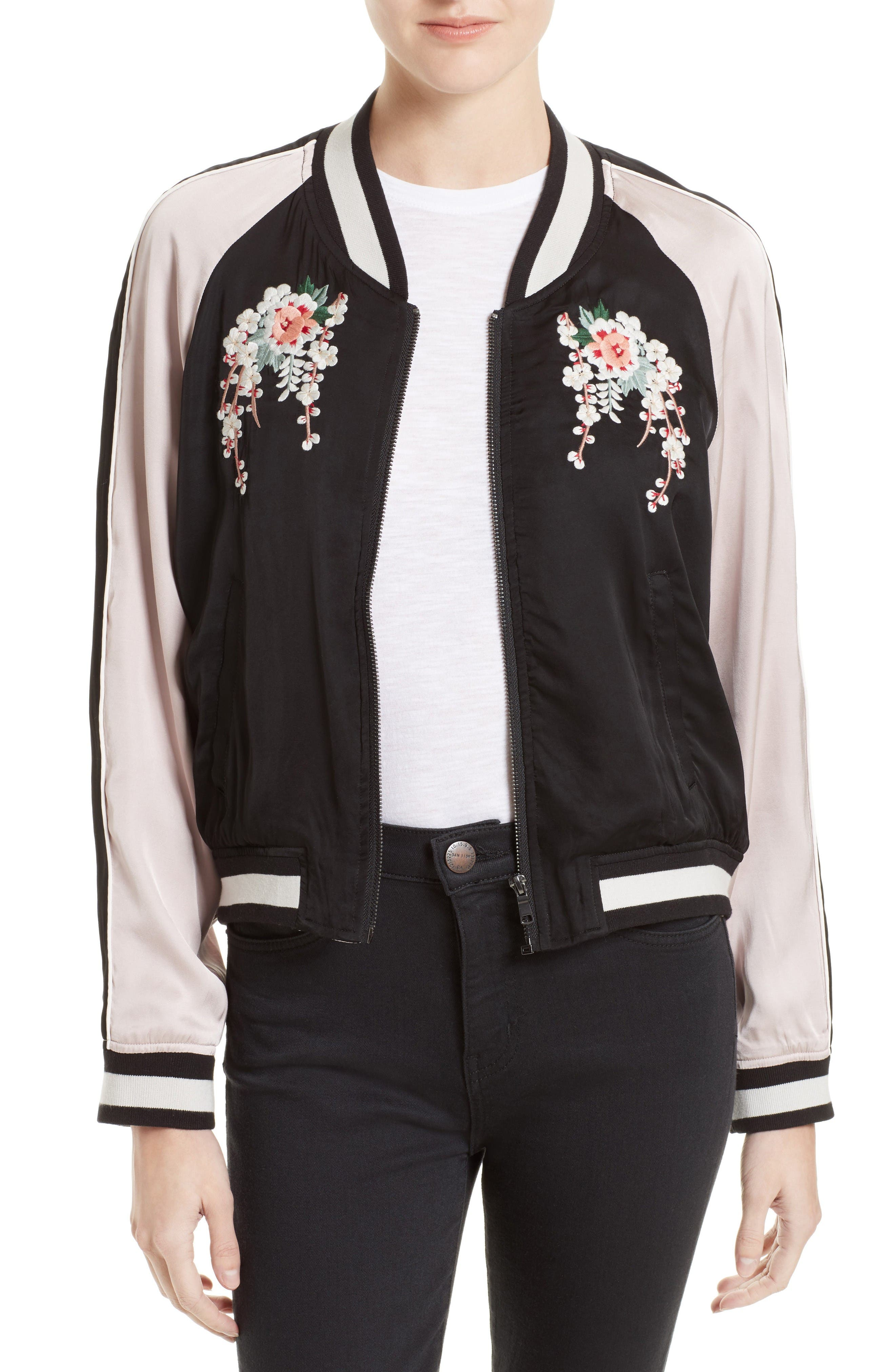 Alternate Image 1 Selected - Joie Juanita Embroidered Bomber Jacket
