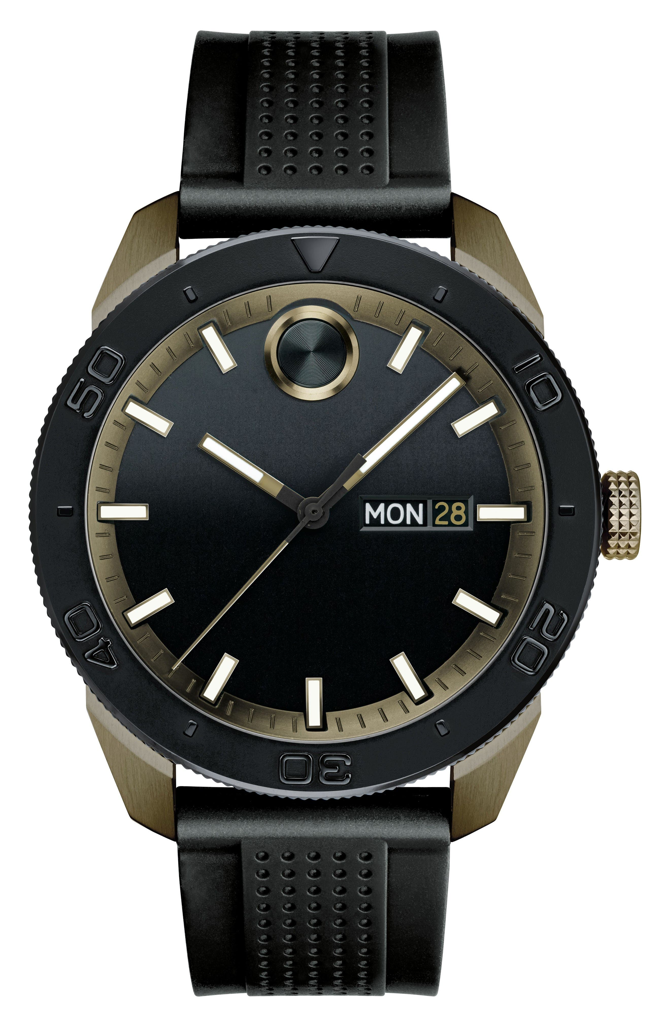 Movado Bold Sport Silicone Strap Watch, 43mm