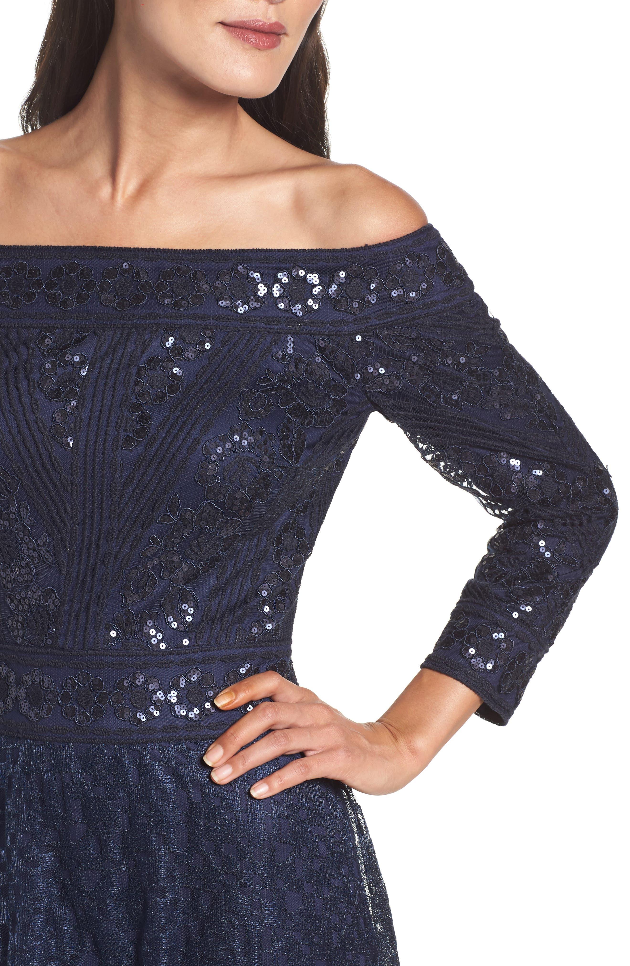 Alternate Image 4  - Tadashi Shoji Sequin Embroidered Tulle Off the Shoulder Gown