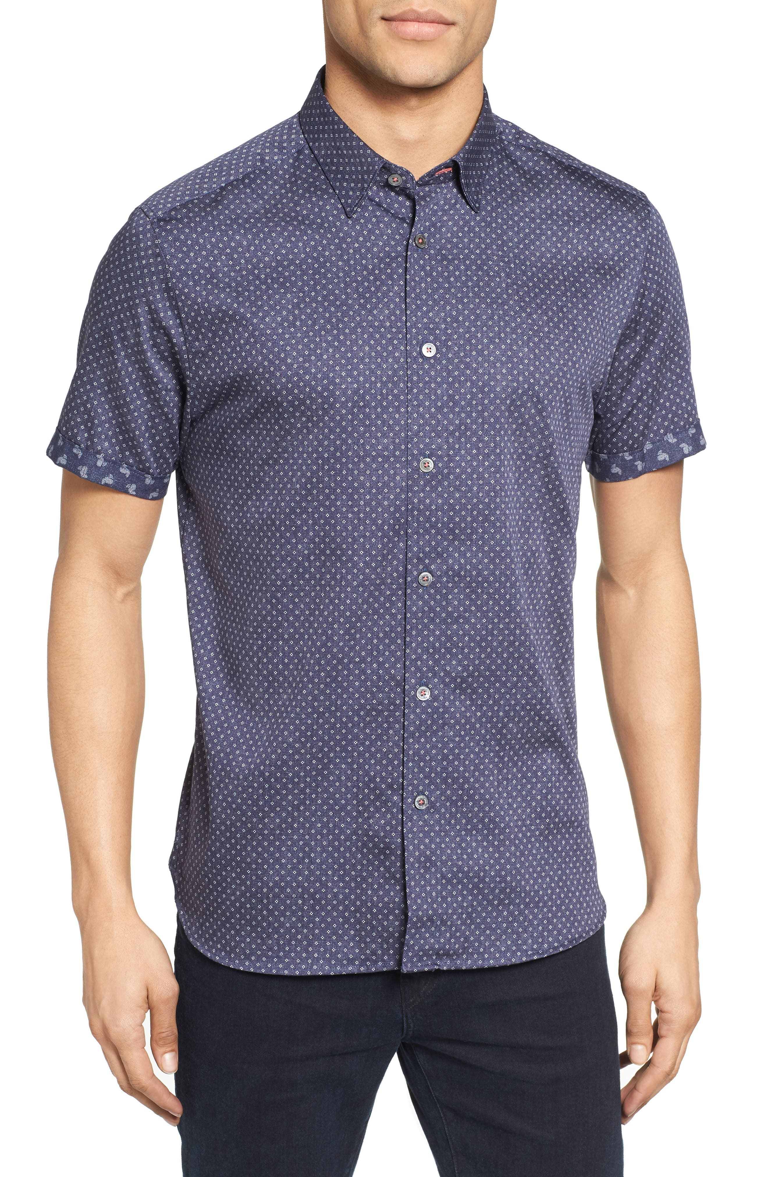 Ted Baker London Indee Extra Slim Fit Geo Print Sport Shirt