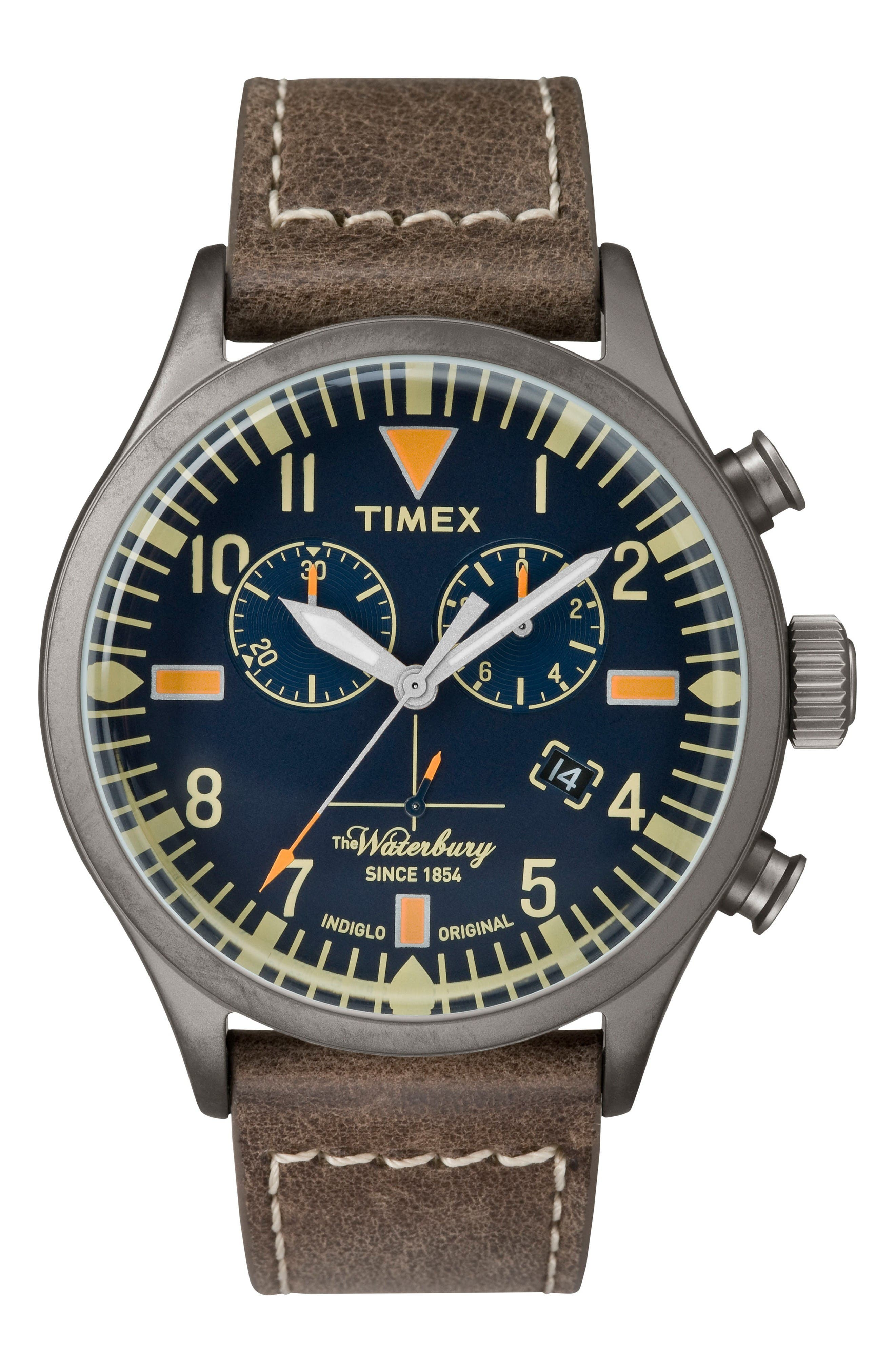 Timex® Waterbury Chronograph Leather Strap Watch, 42mm