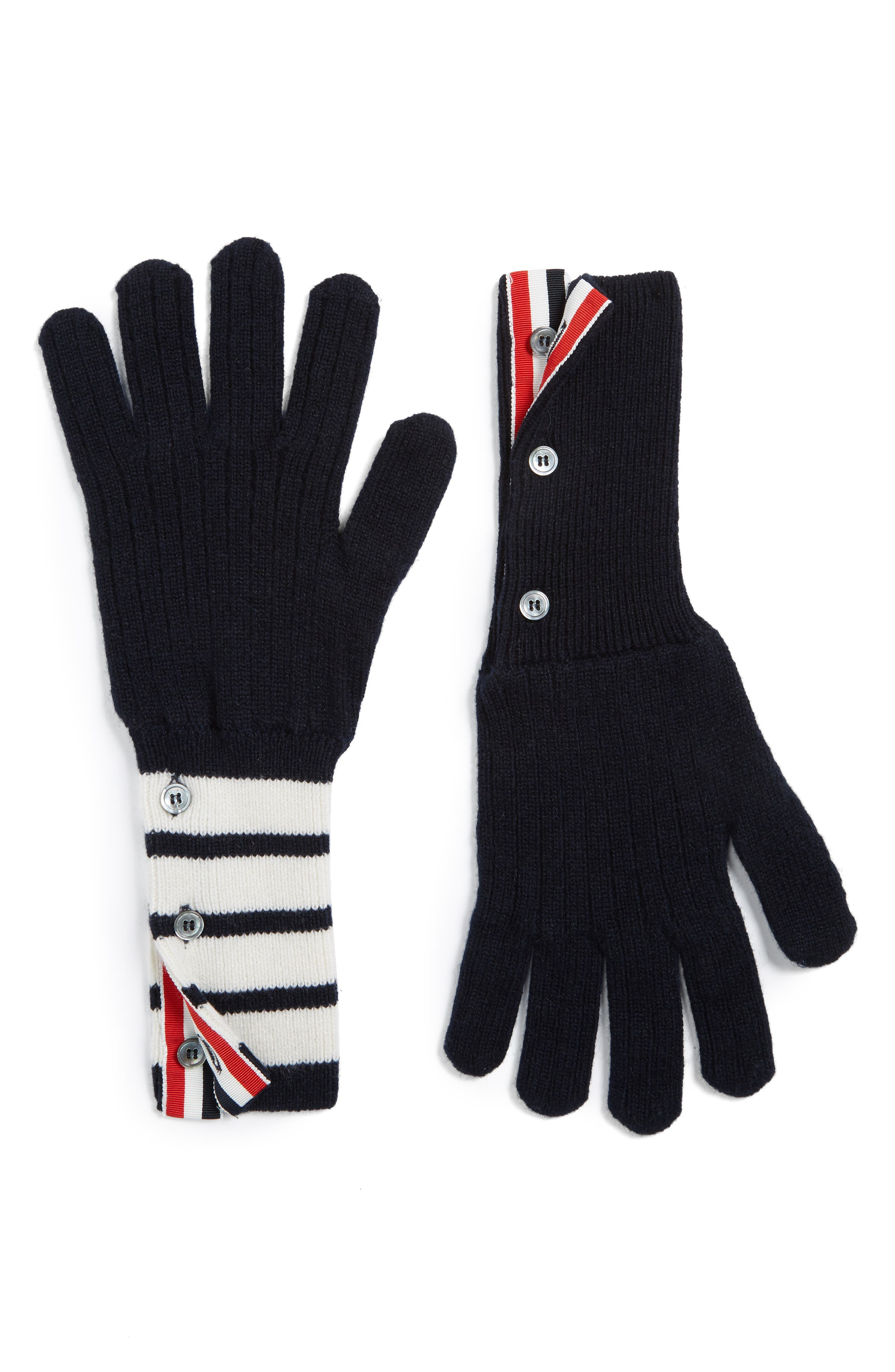 Thom Browne 4-Bar Stripe Cashmere Gloves