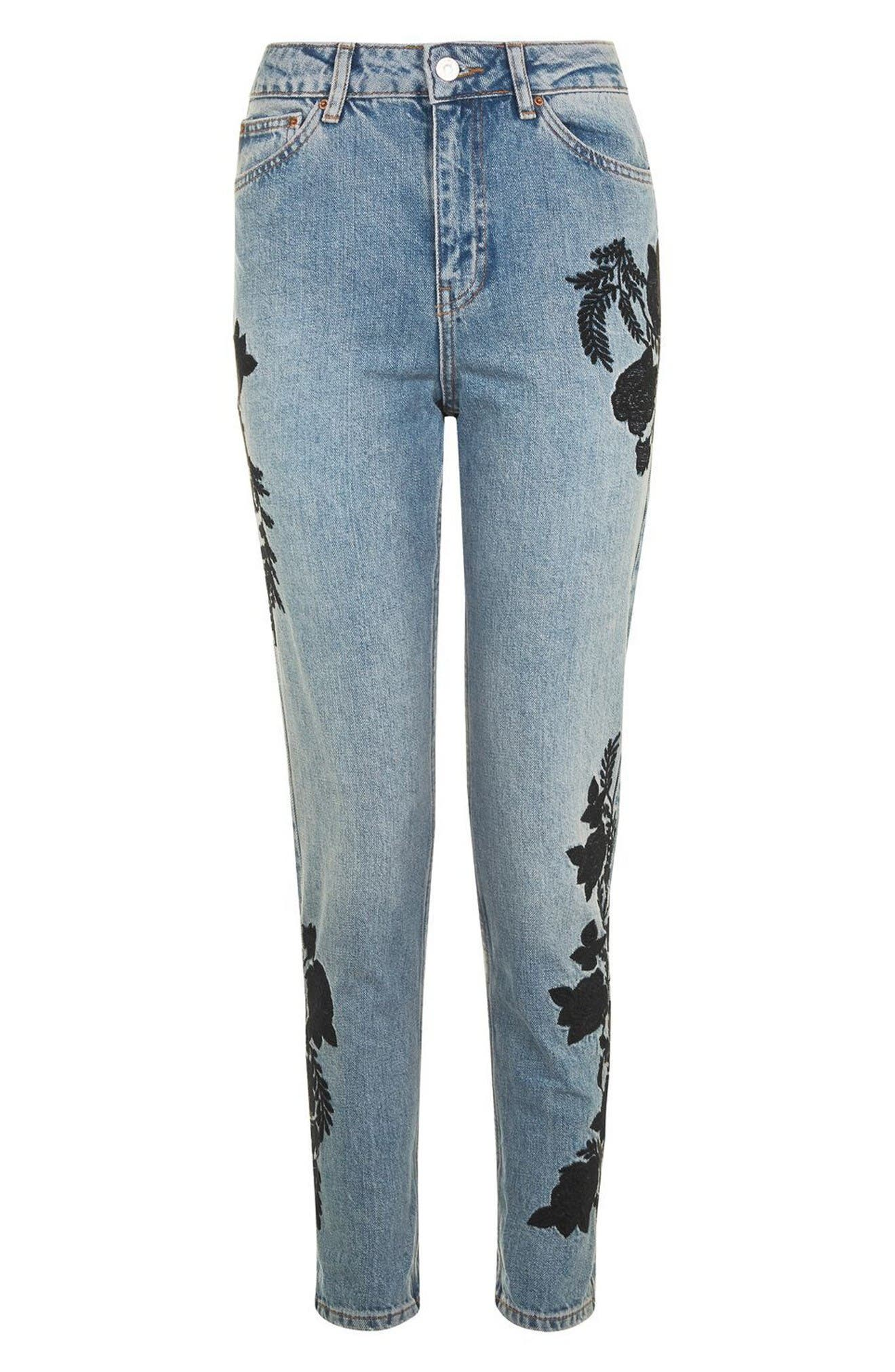 Alternate Image 4  - Topshop Embroidered Mom Jeans