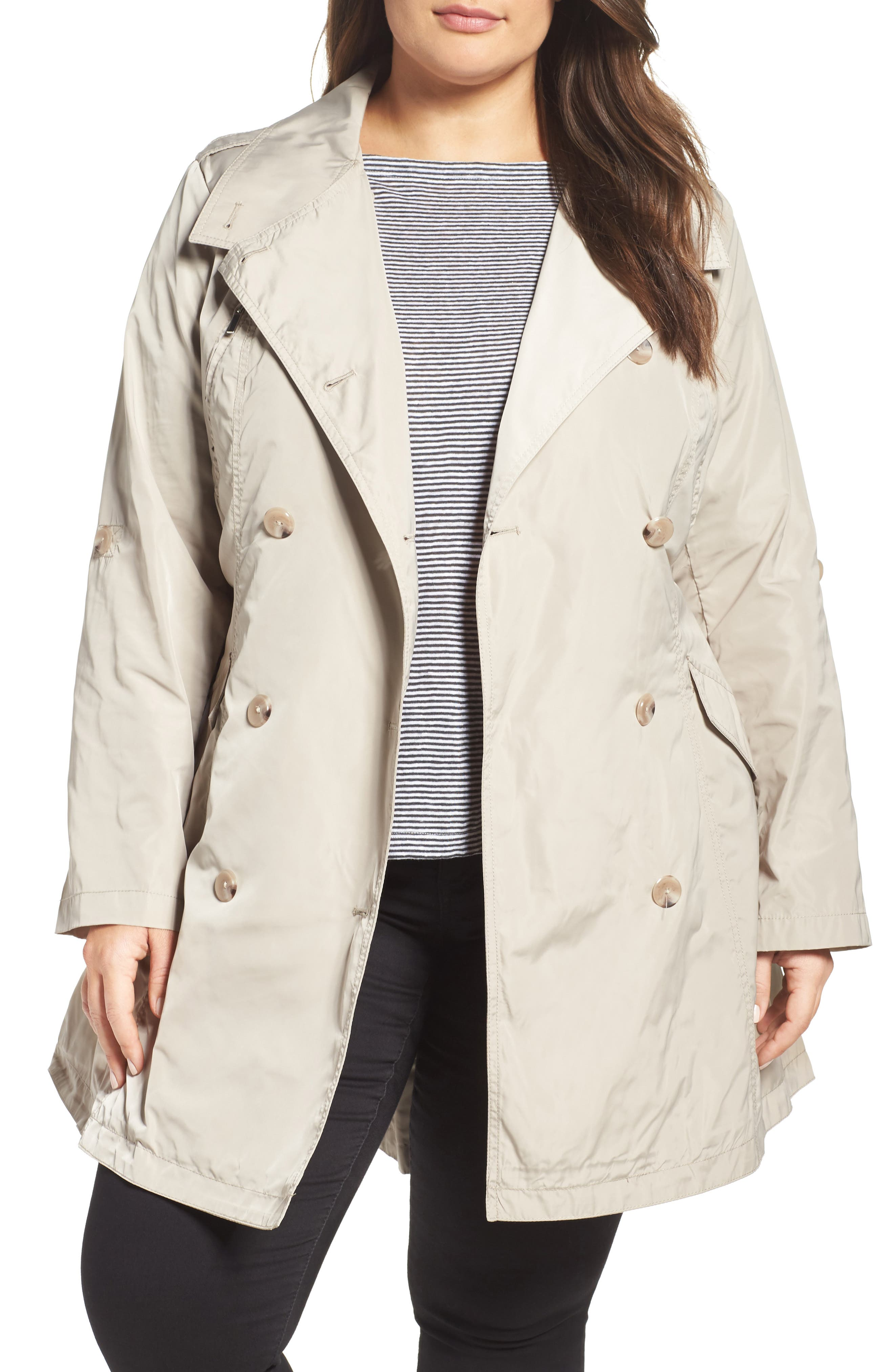 French Connection Drape Back Trench Coat (Plus Size)