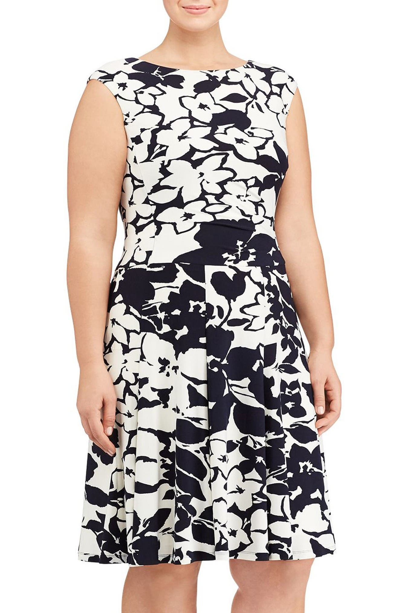 Lauren Ralph Lauren Floral Jersey Fit & Flare Dress (Plus Size)