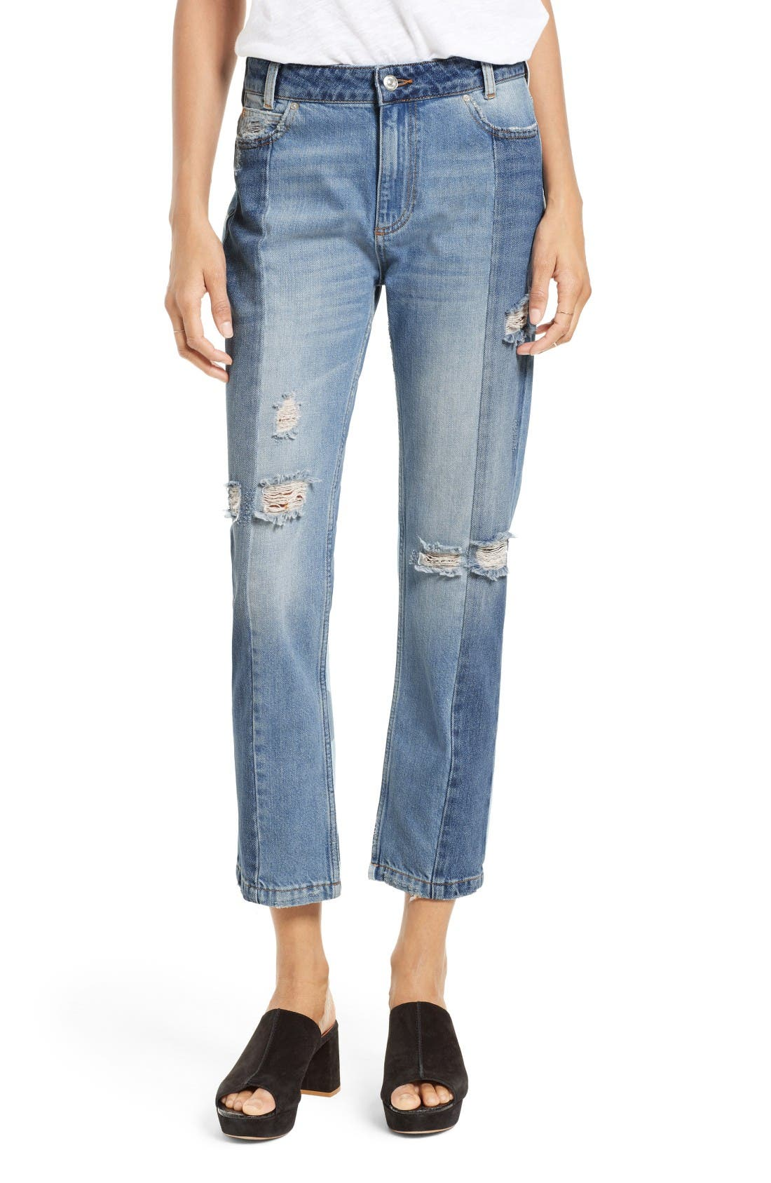 Alternate Image 1 Selected - Free People The Patchwork High Waist Crop Jeans
