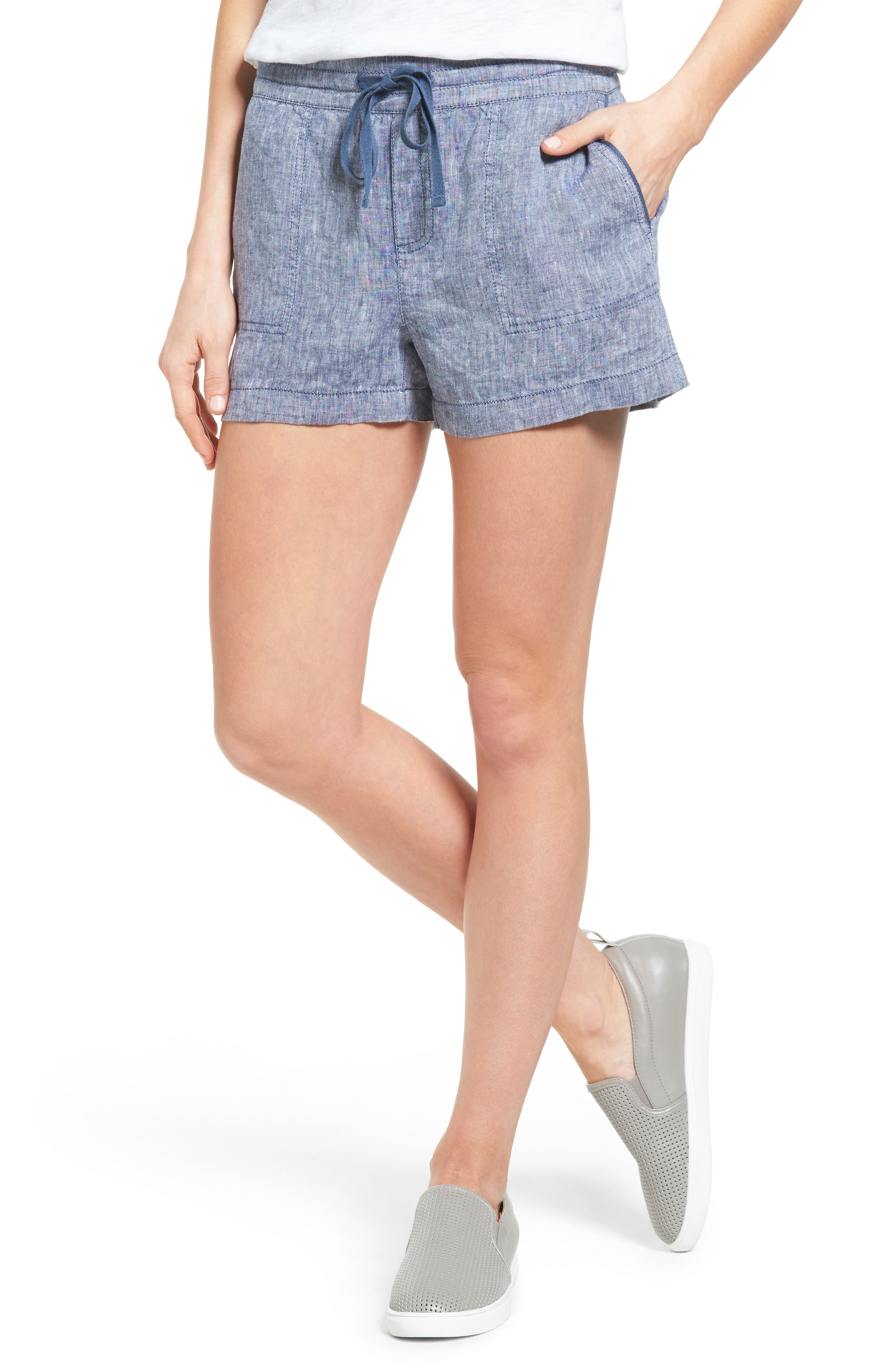 CASLON® Drawstring Linen Shorts