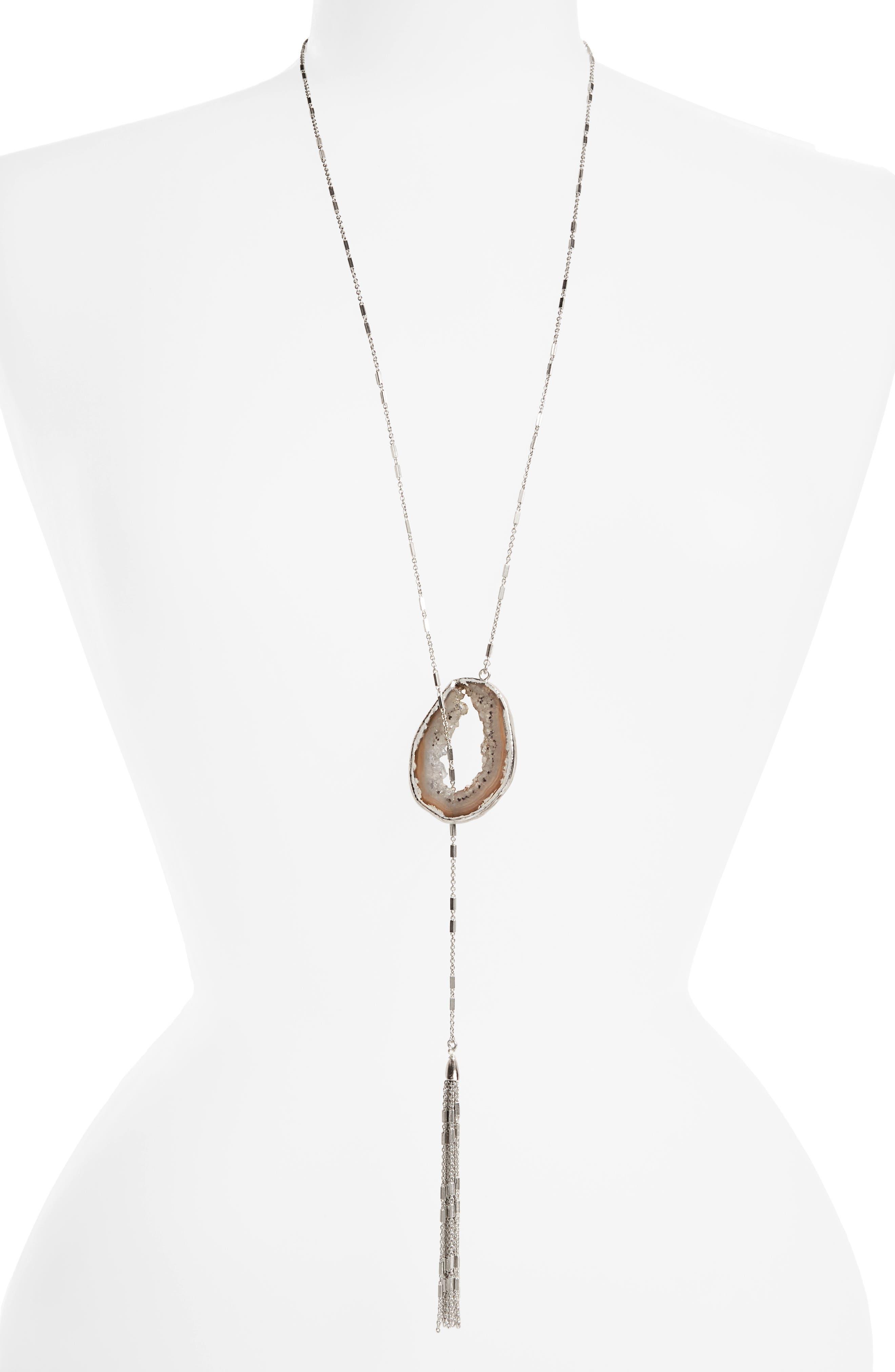 Treasure & Bond Drusy Lariat Necklace