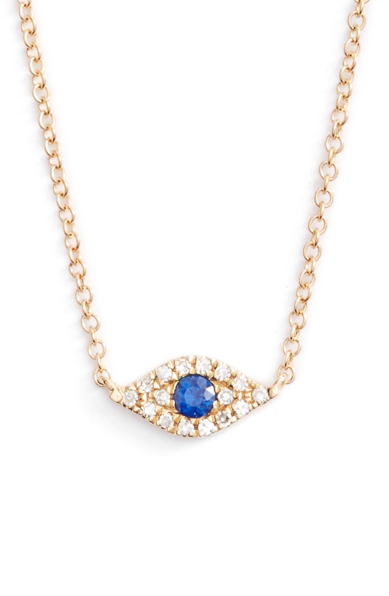 EF COLLECTION Evil Eye Diamond & Sapphire Pendant Necklace
