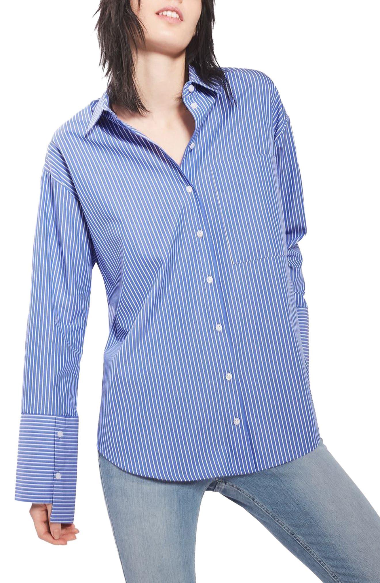 Main Image - Topshop Deep Cuff Stripe Shirt