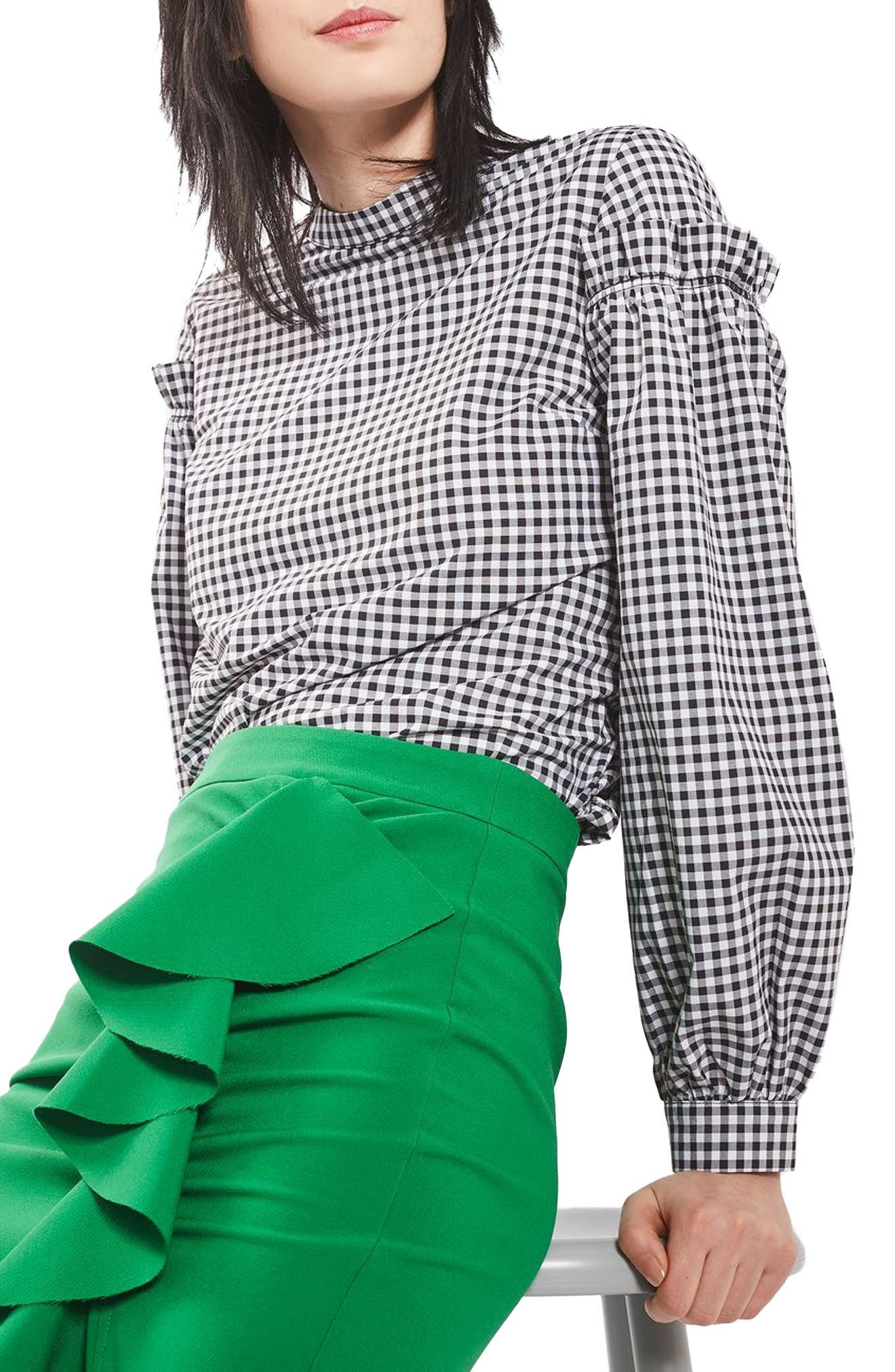 Main Image - Topshop Gingham Mutton Sleeve Top (Regular & Petite)