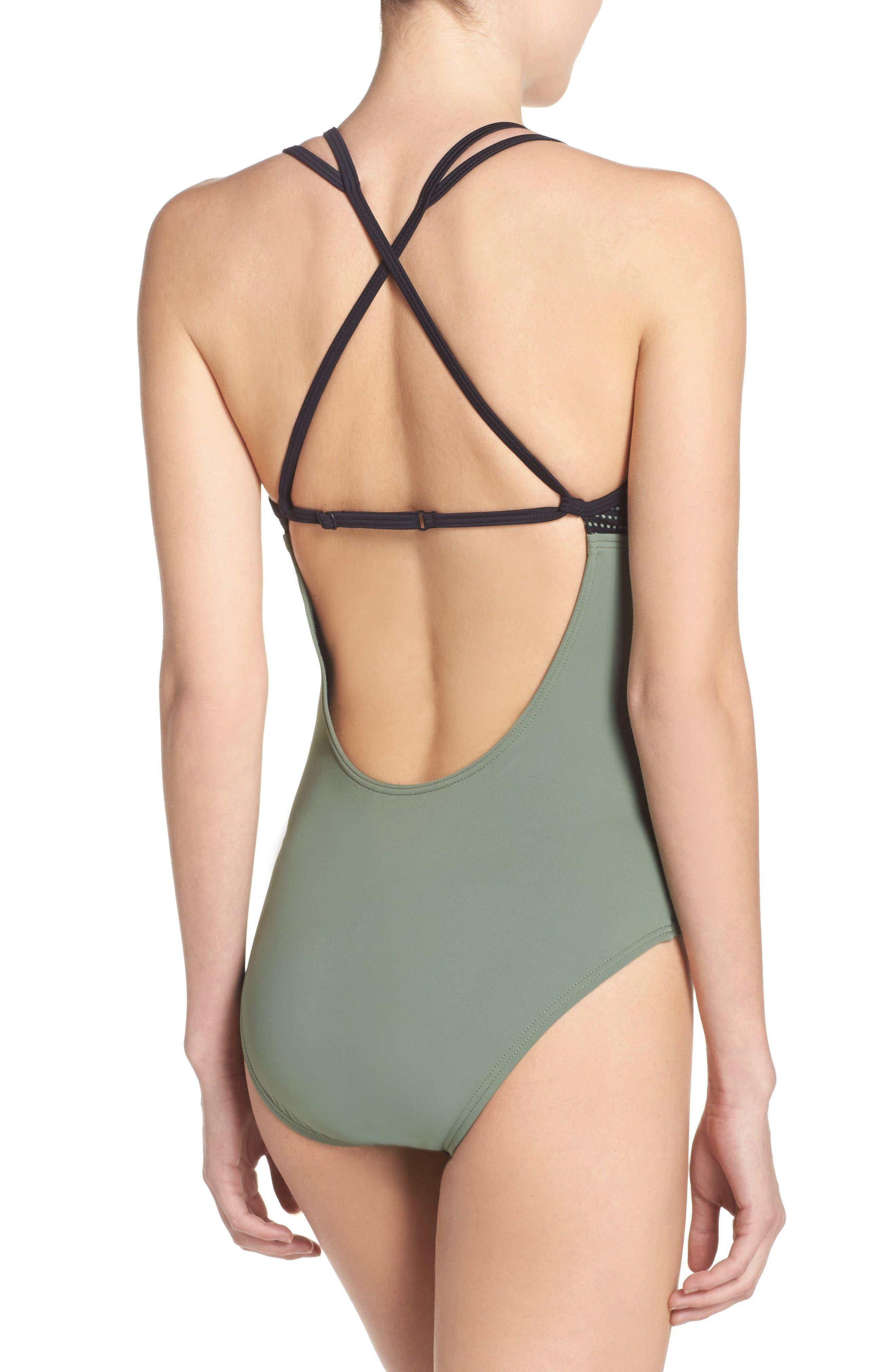 Alternate Image 2  - Zella Colorblock One-Piece Swimsuit