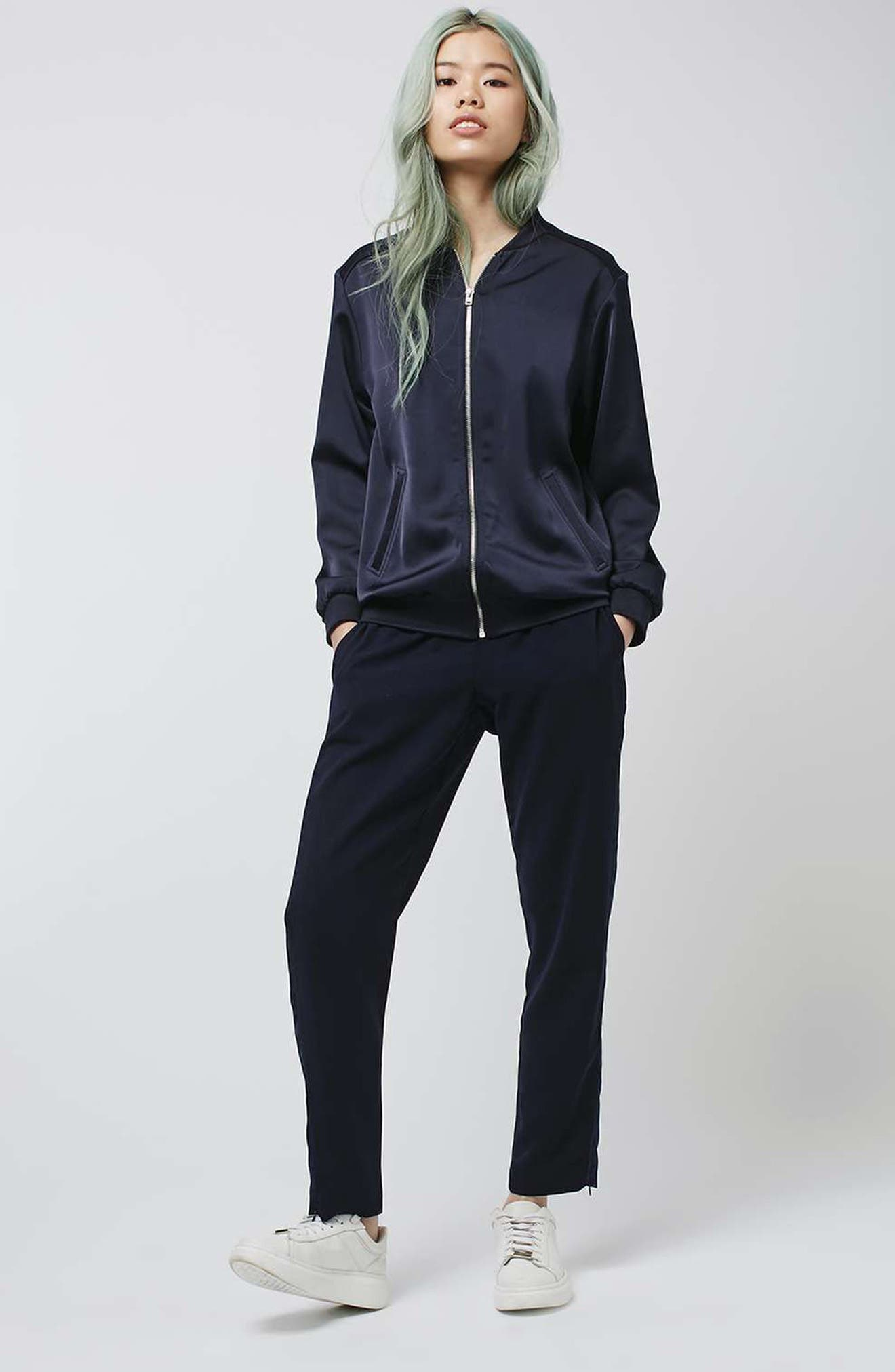 Alternate Image 2  - Topshop Contrast Piped Ankle Zip Jogger Pants