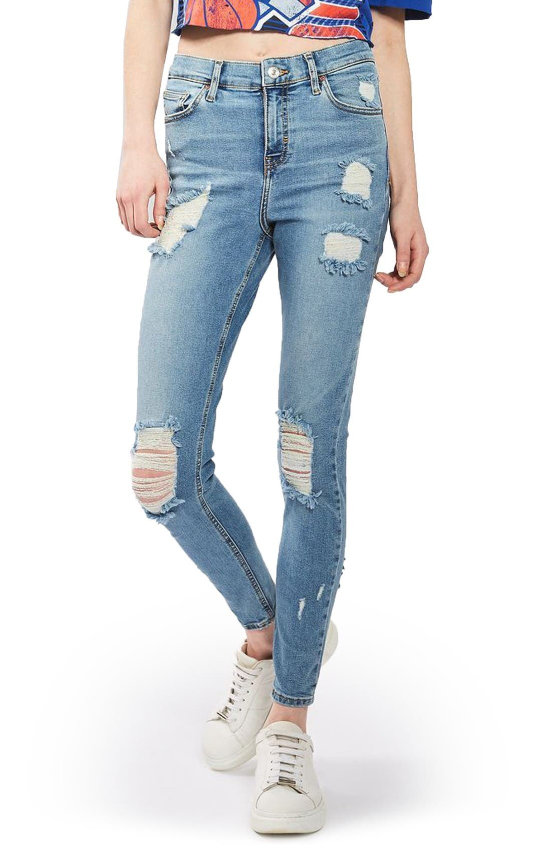 Main Image - Topshop Jamie Super Ripped Skinny Jeans