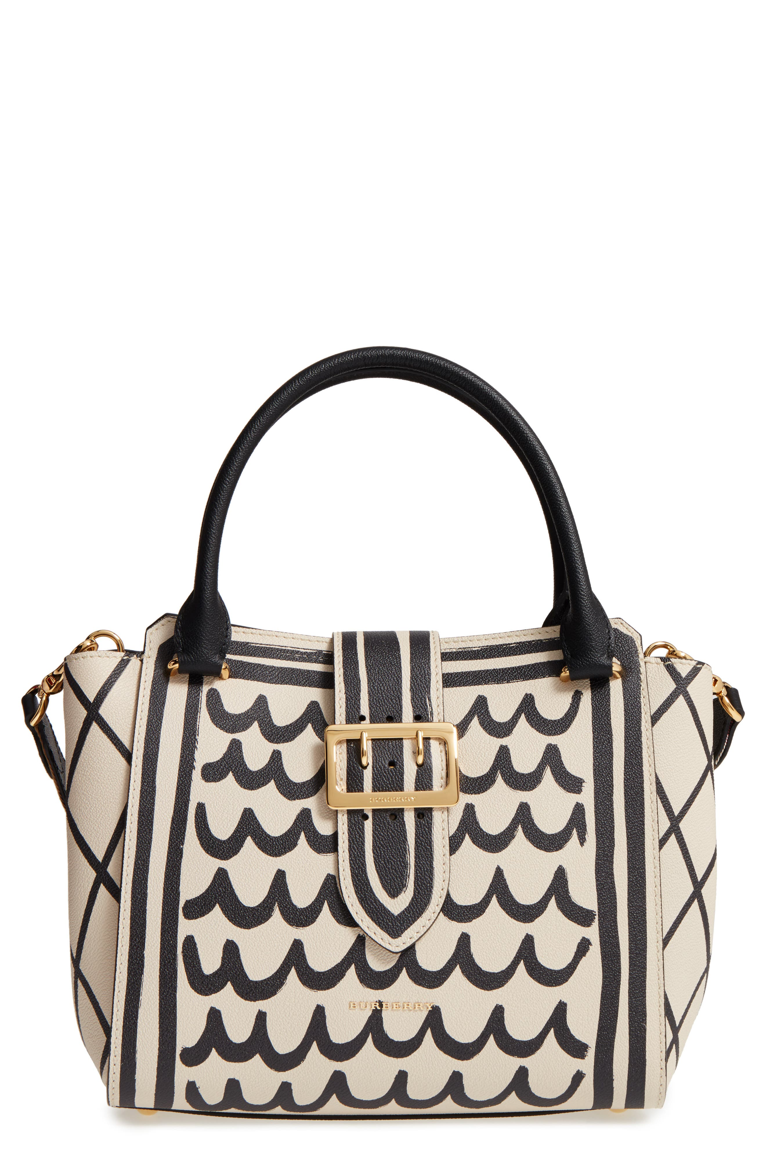 Burberry Medium Buckle Graphic Leather Tote
