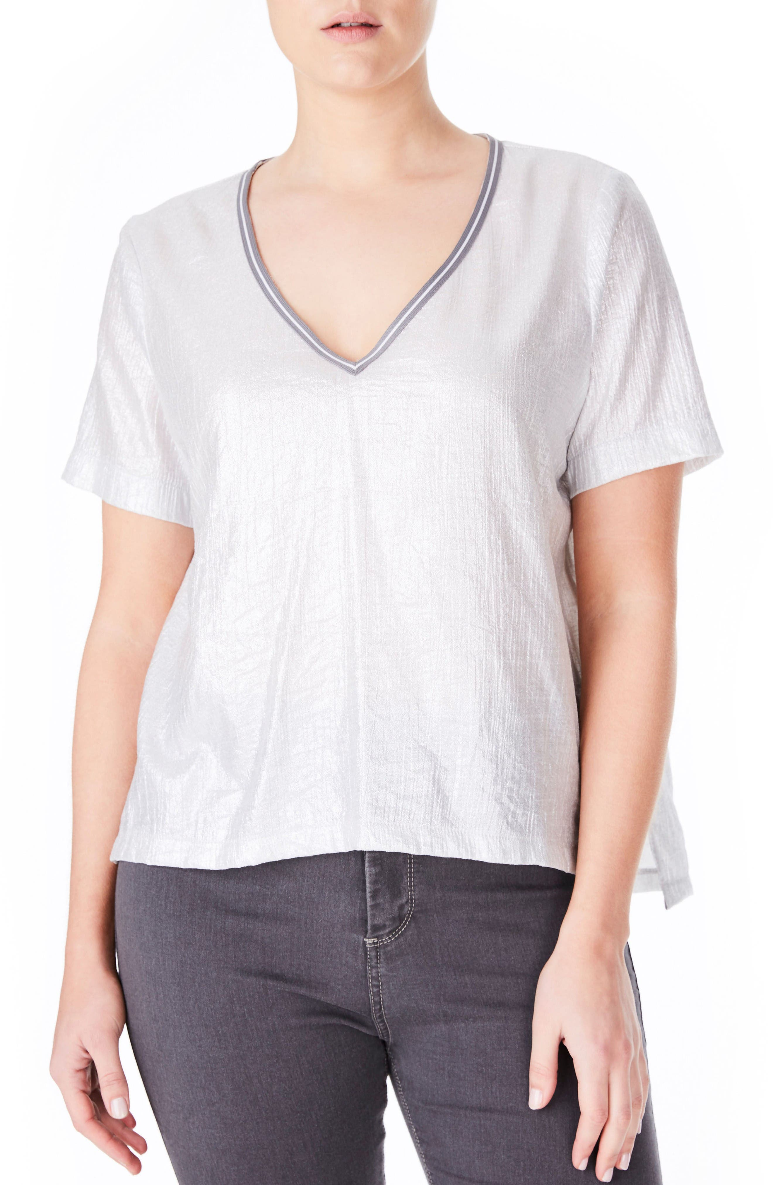 ELVI Metallic V-Neck Top (Plus Size)