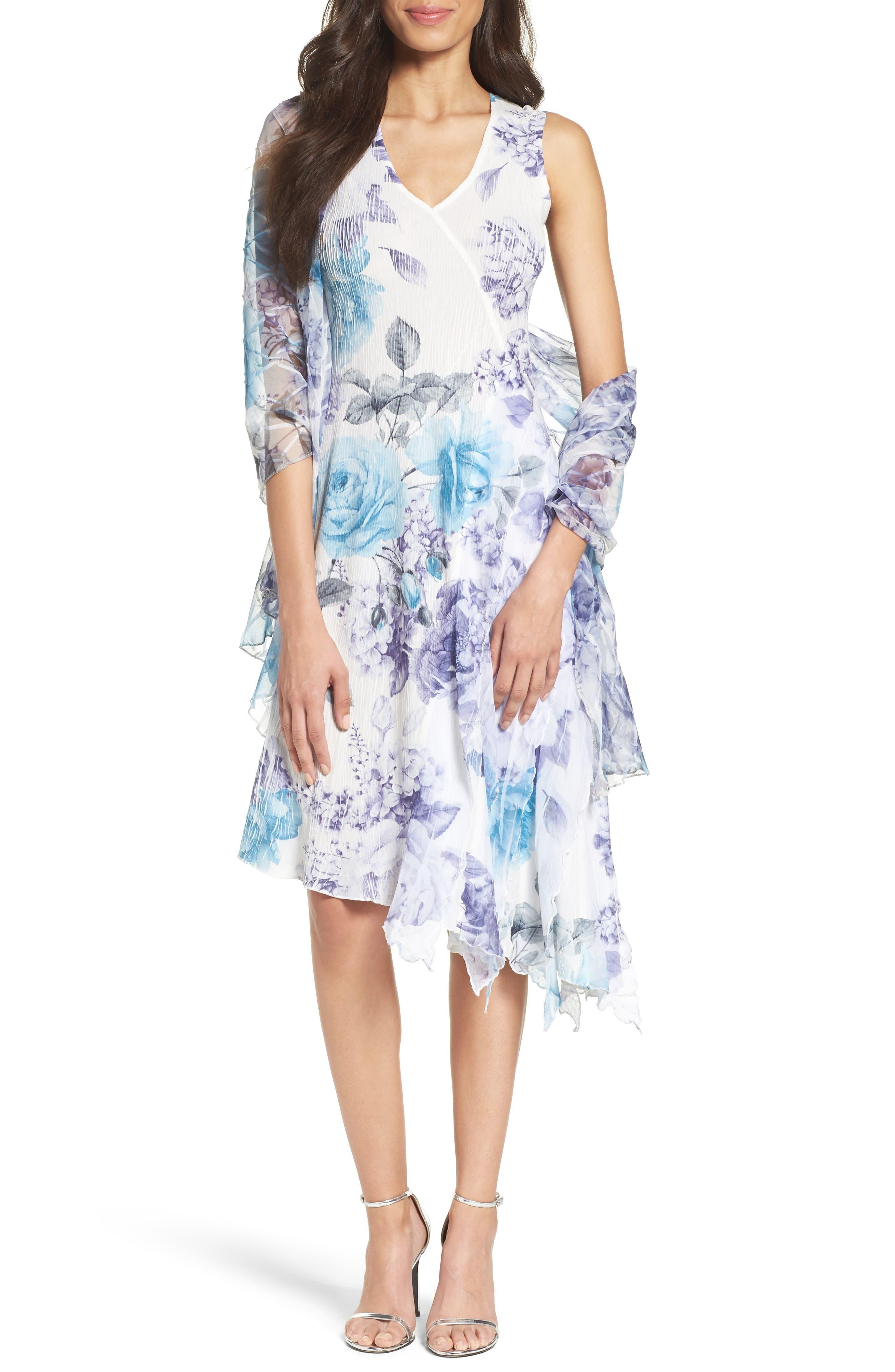 Komarov Print Asymmetrical Hem Dress with Shawl (Regular & Petite)