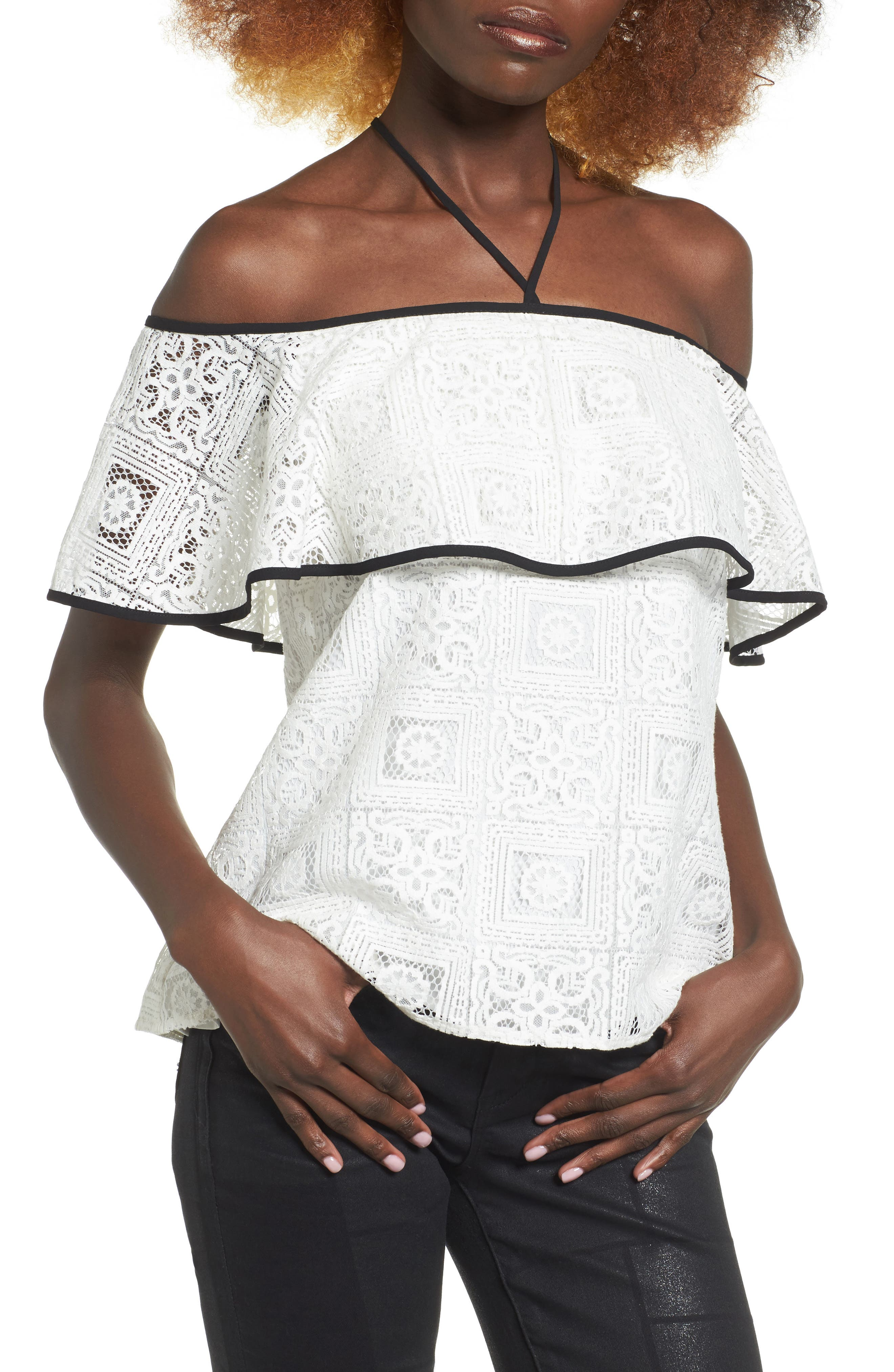 WAYF Evelyn Off the Shoulder Lace Top
