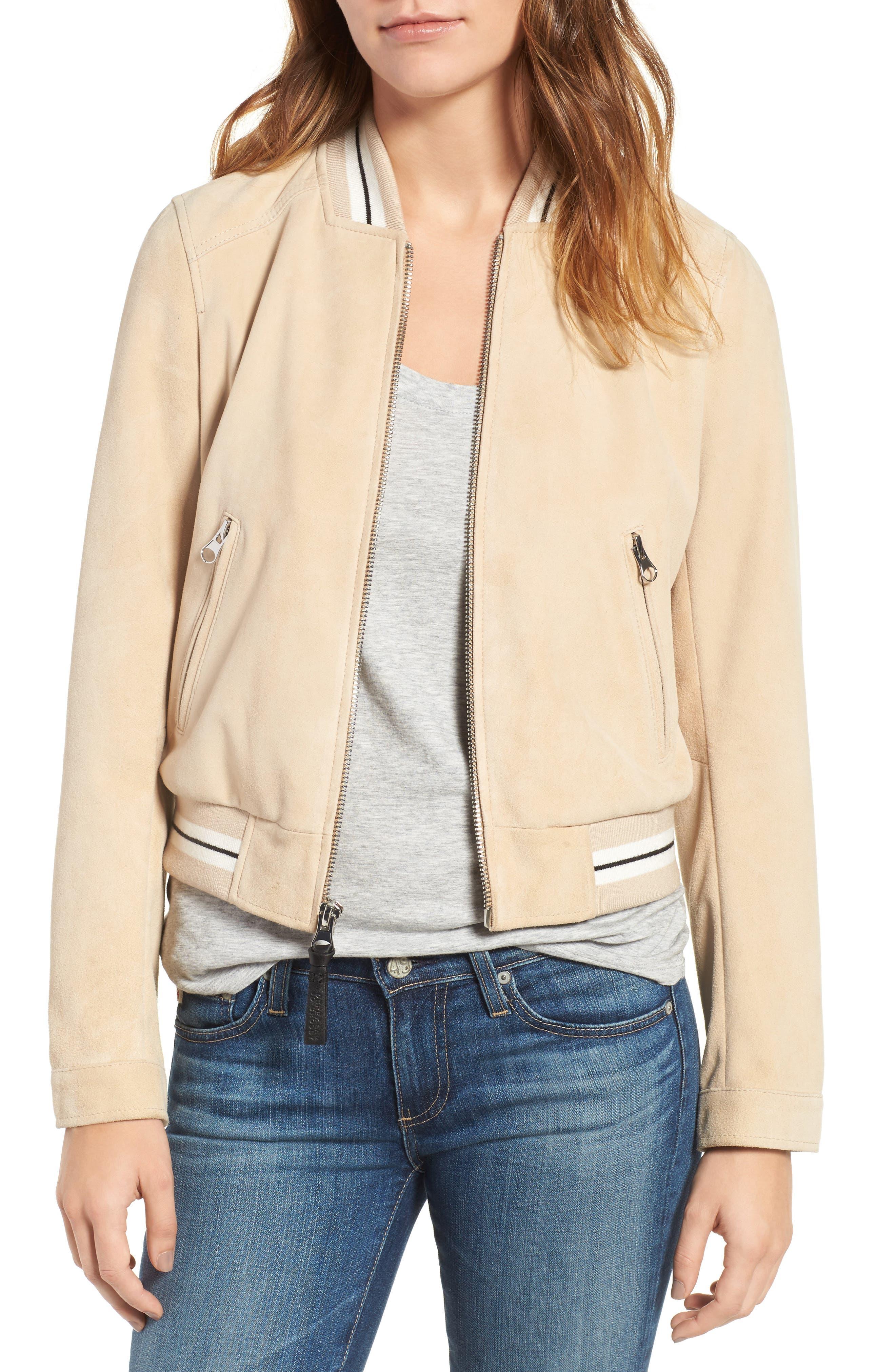 Main Image - Derek Lam 10 Crosby Suede Varsity Jacket