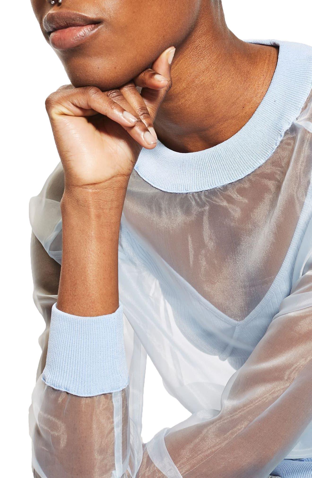 Alternate Image 5  - Topshop Sheer Sweatshirt