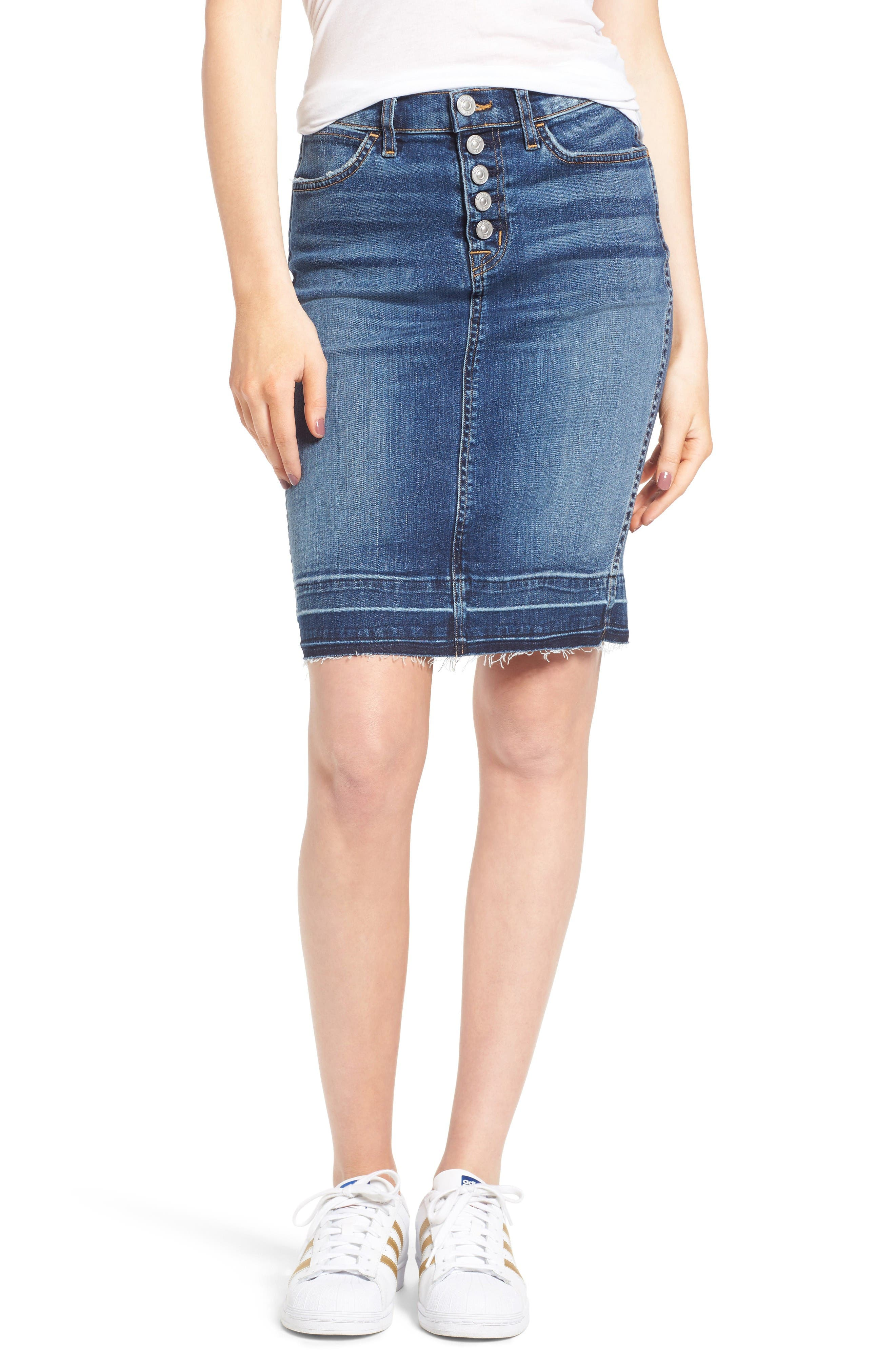 Hudson Jeans Remi High Waist Released Hem Denim Pencil Skirt