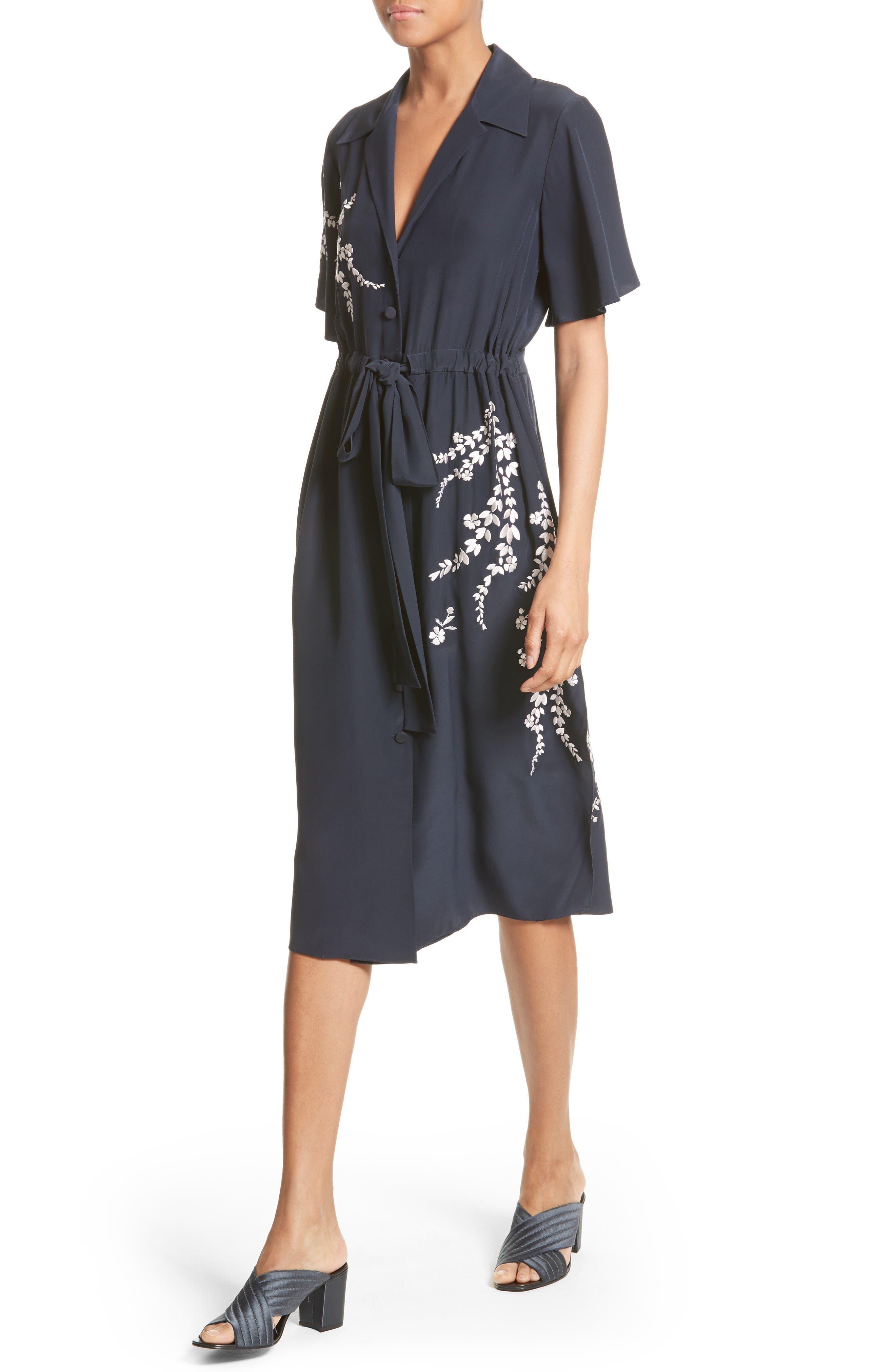 Alternate Image 4  - Cinq à Sept Lenore Embroidered Silk Shirtdress