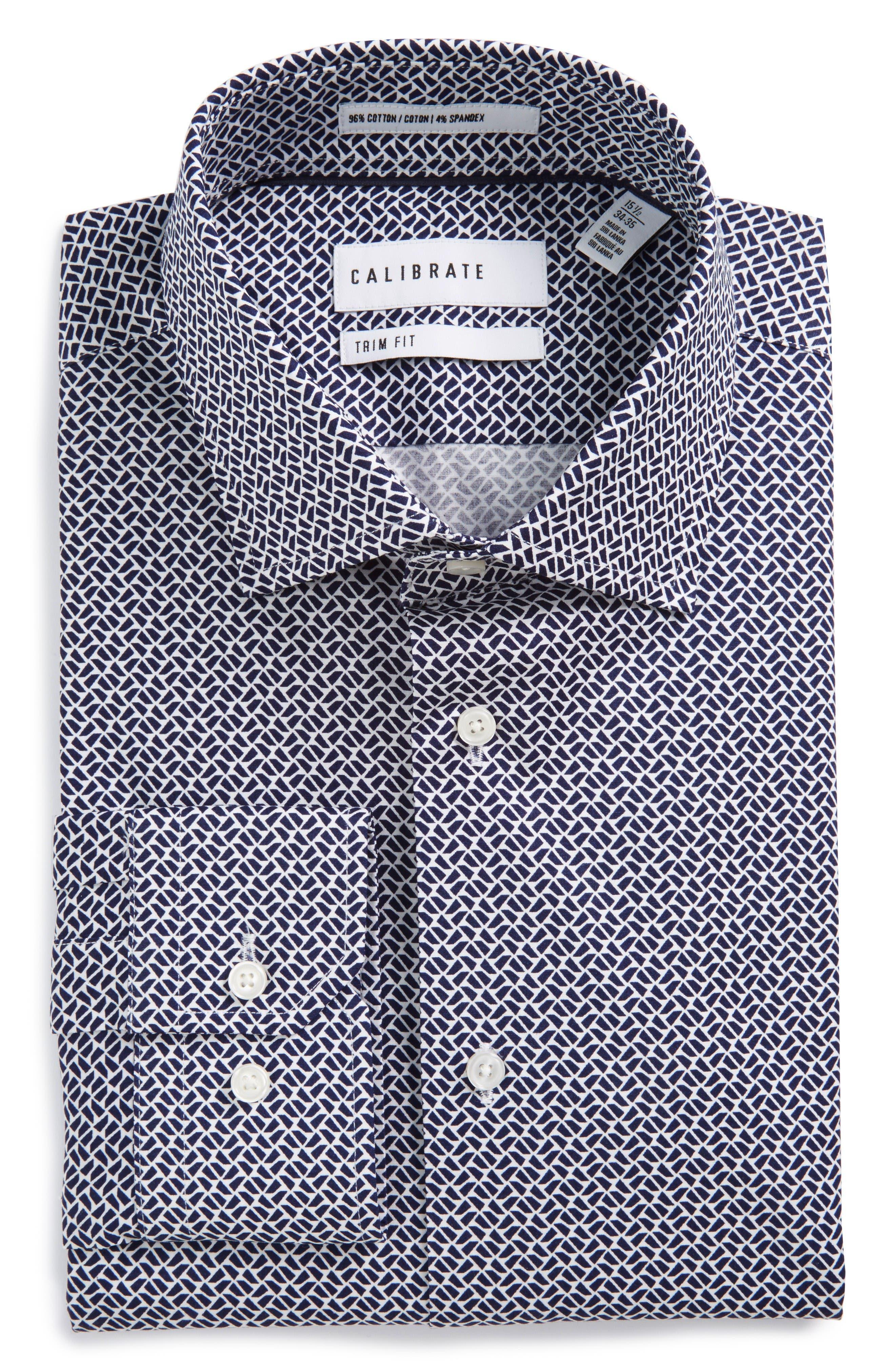 Calibrate Trim Fit Geometric Stretch Dress Shirt