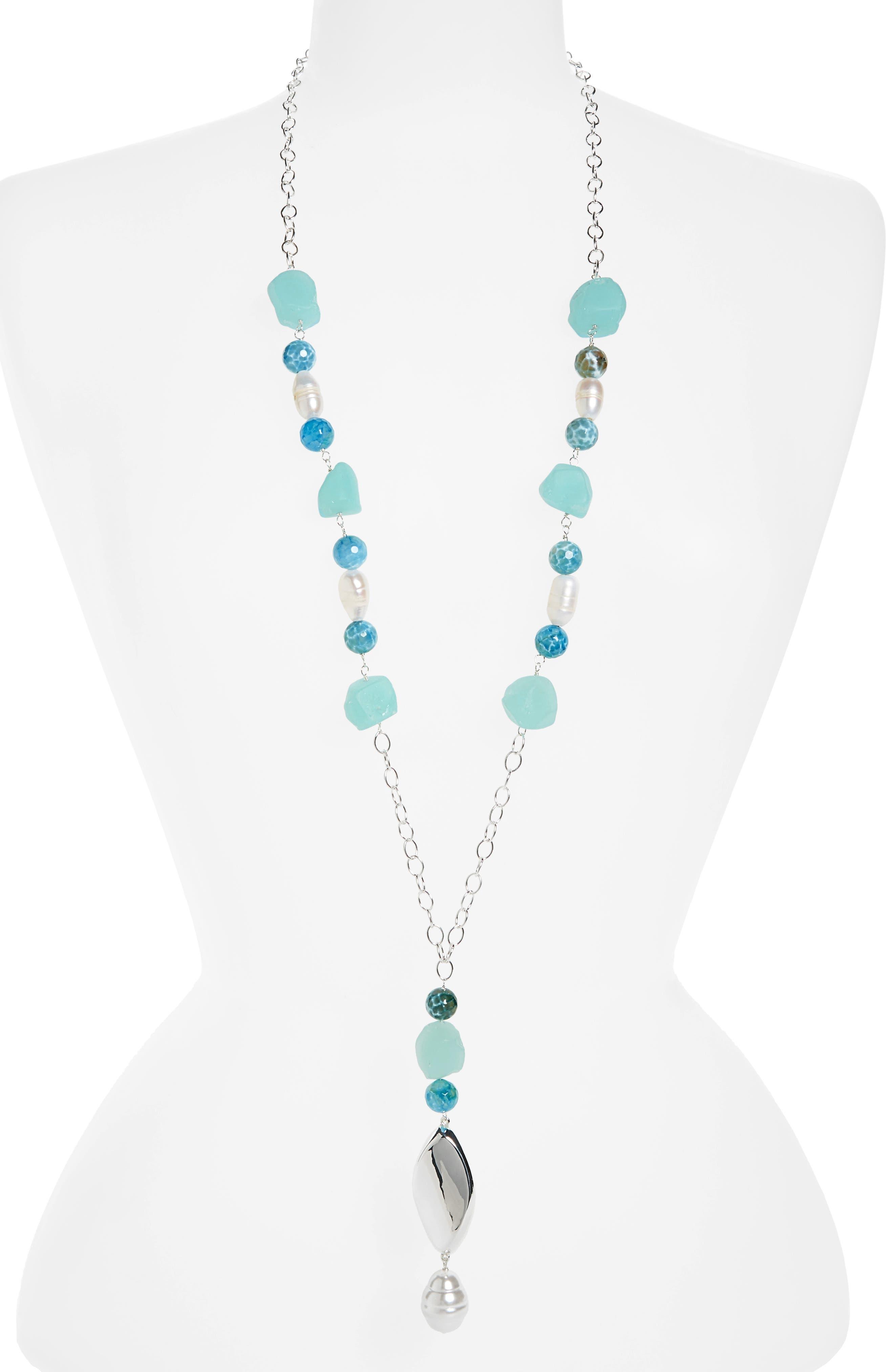 Simon Sebbag Stone & Imitation Pearl Y-Necklace