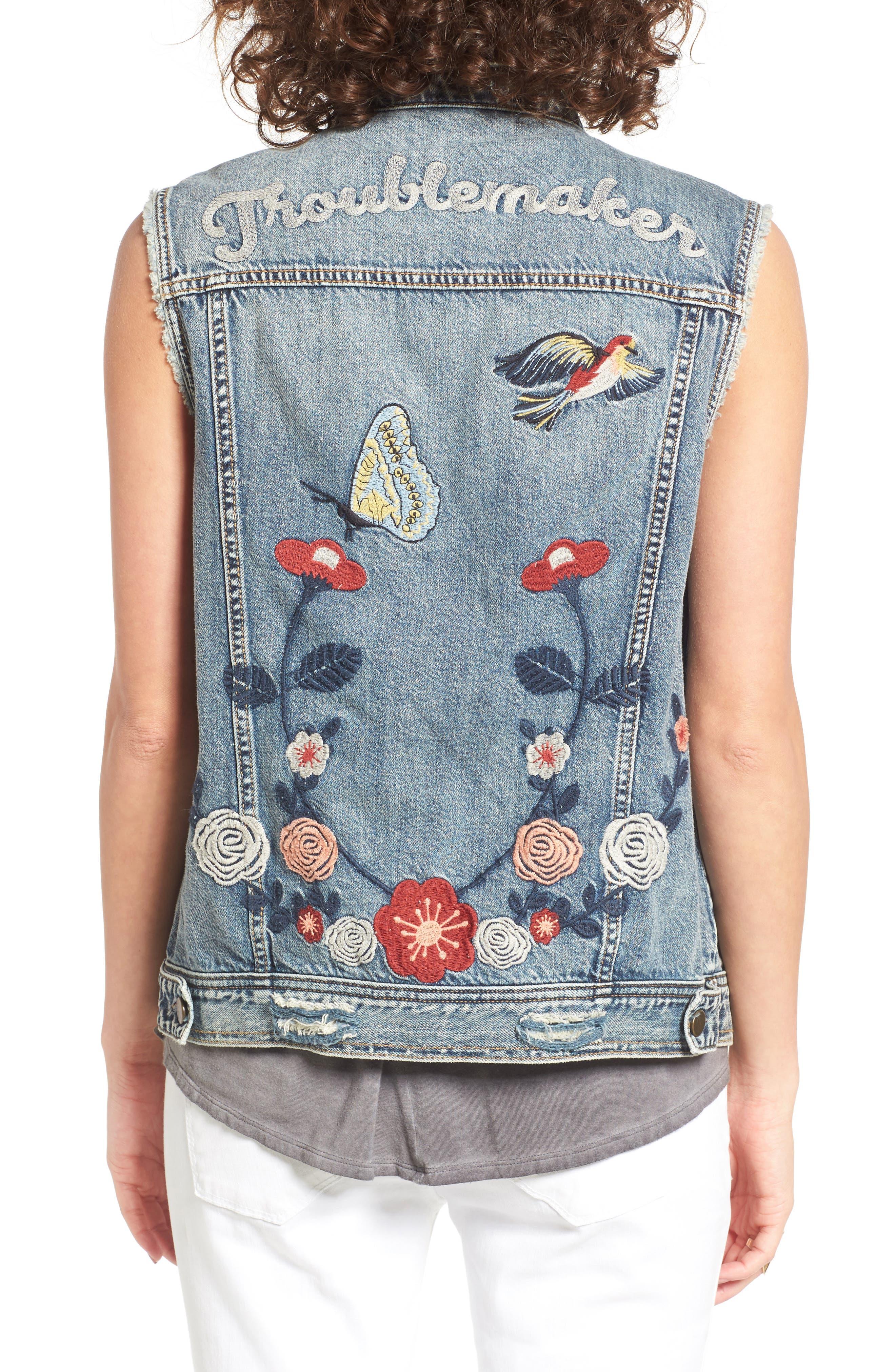 BP. Troublemaker Embroidered Denim Vest