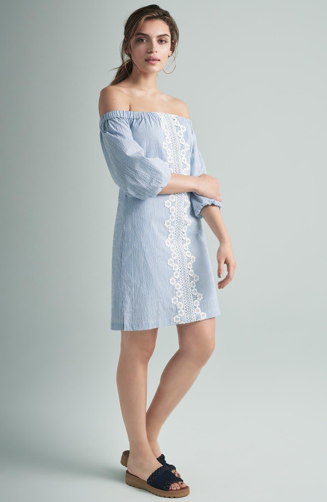 Alternate Image 2  - Eliza J Lace Trim Seersucker Off the Shoulder Dress (Regular & Petite)