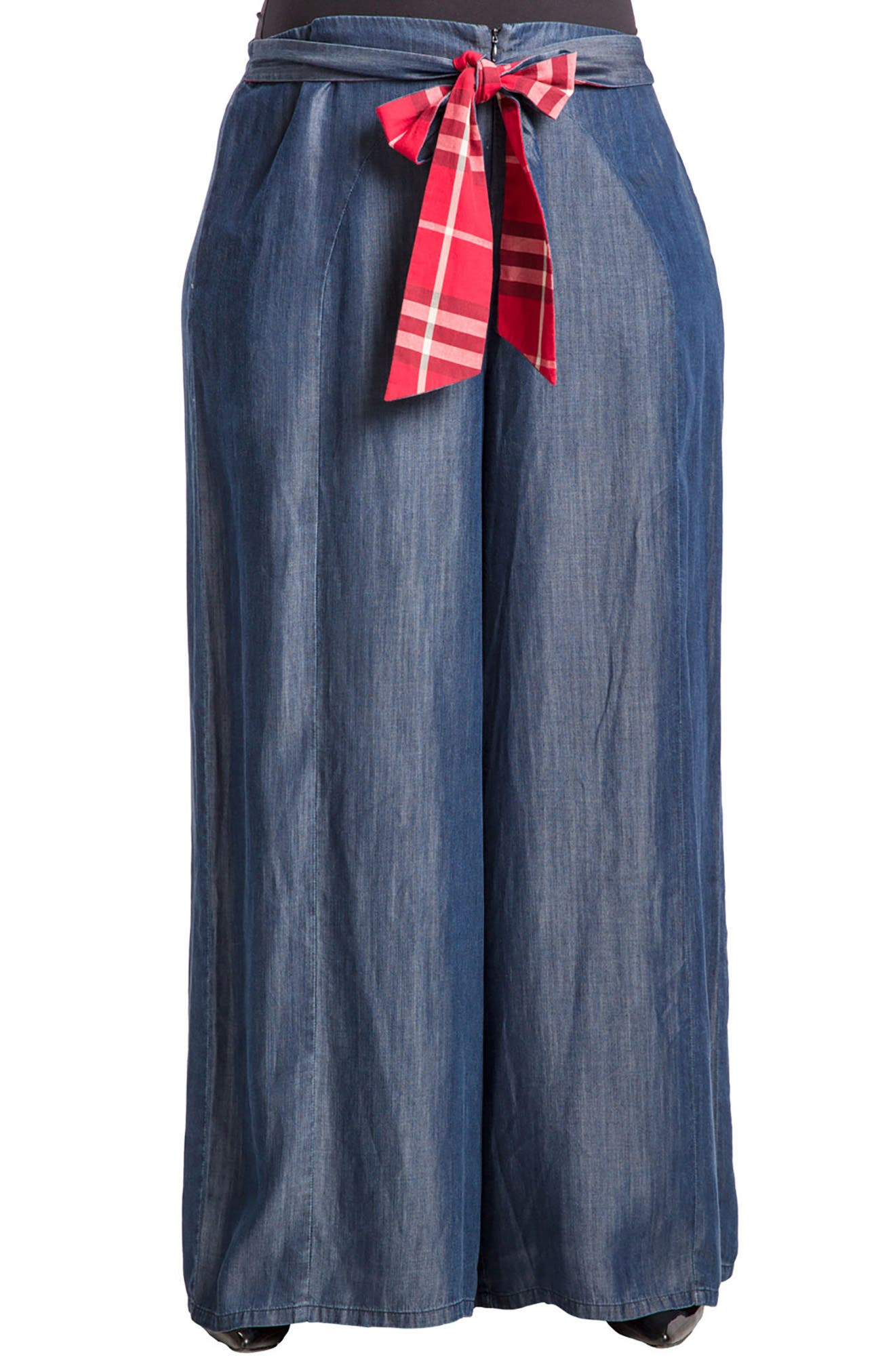 Poetic Justice Shay Tie Waist Denim Palazzo Pants (Plus Size)