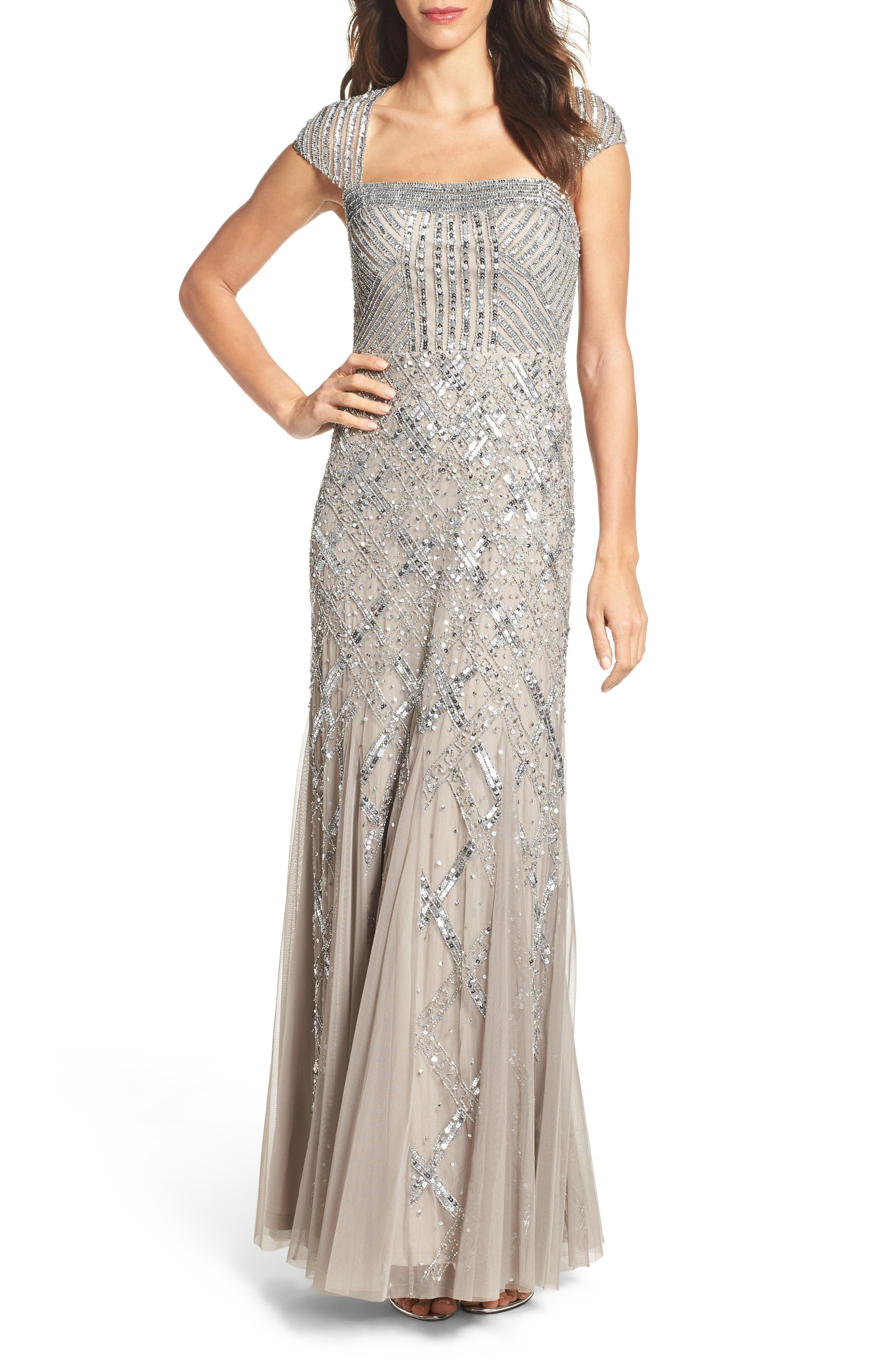 ADRIANNA PAPELL Embellished Mesh Mermaid Gown