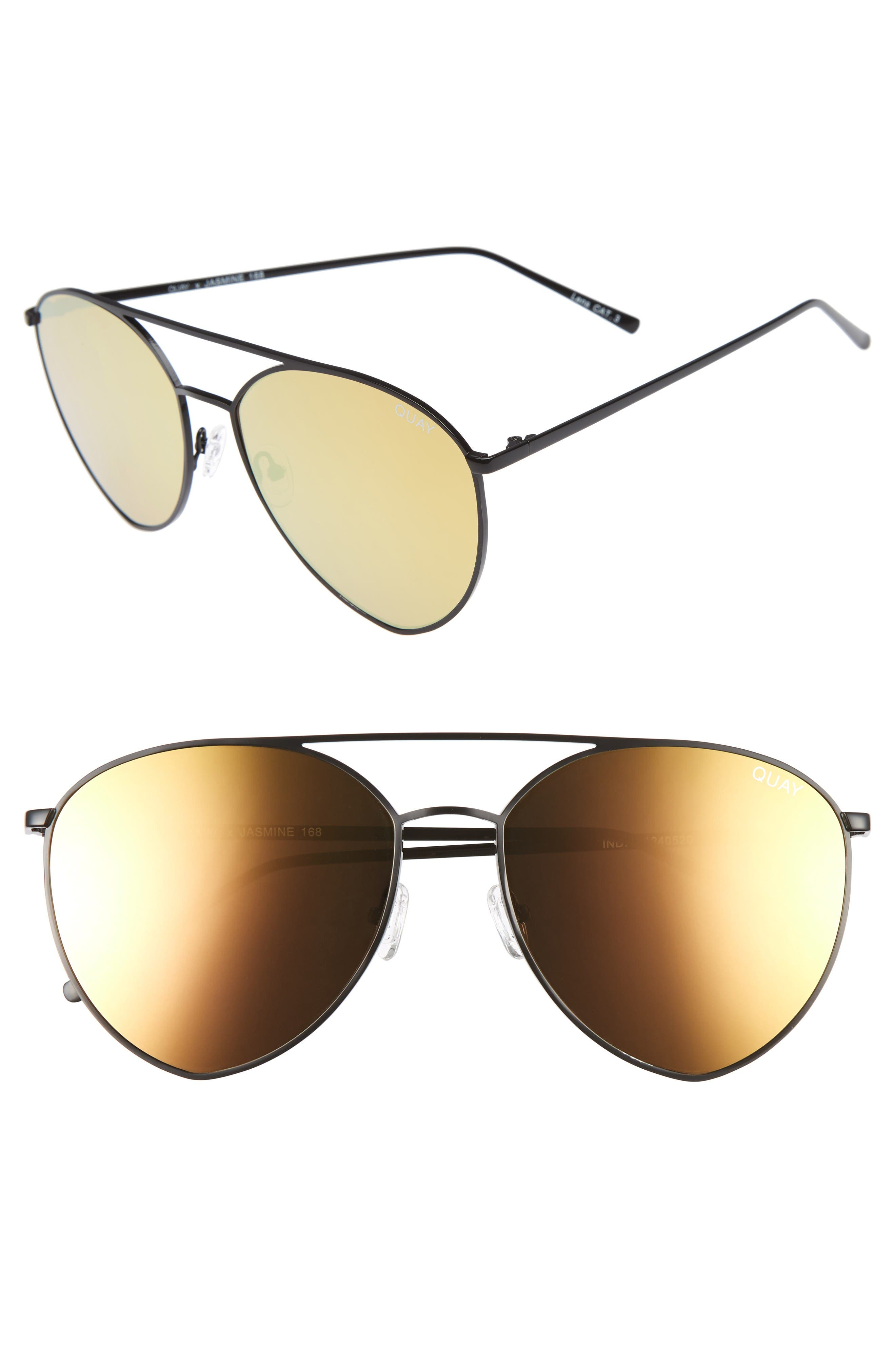 Main Image - Quay Australia x Jasmine Sanders Indio 60mm Mirrored Aviator Sunglasses