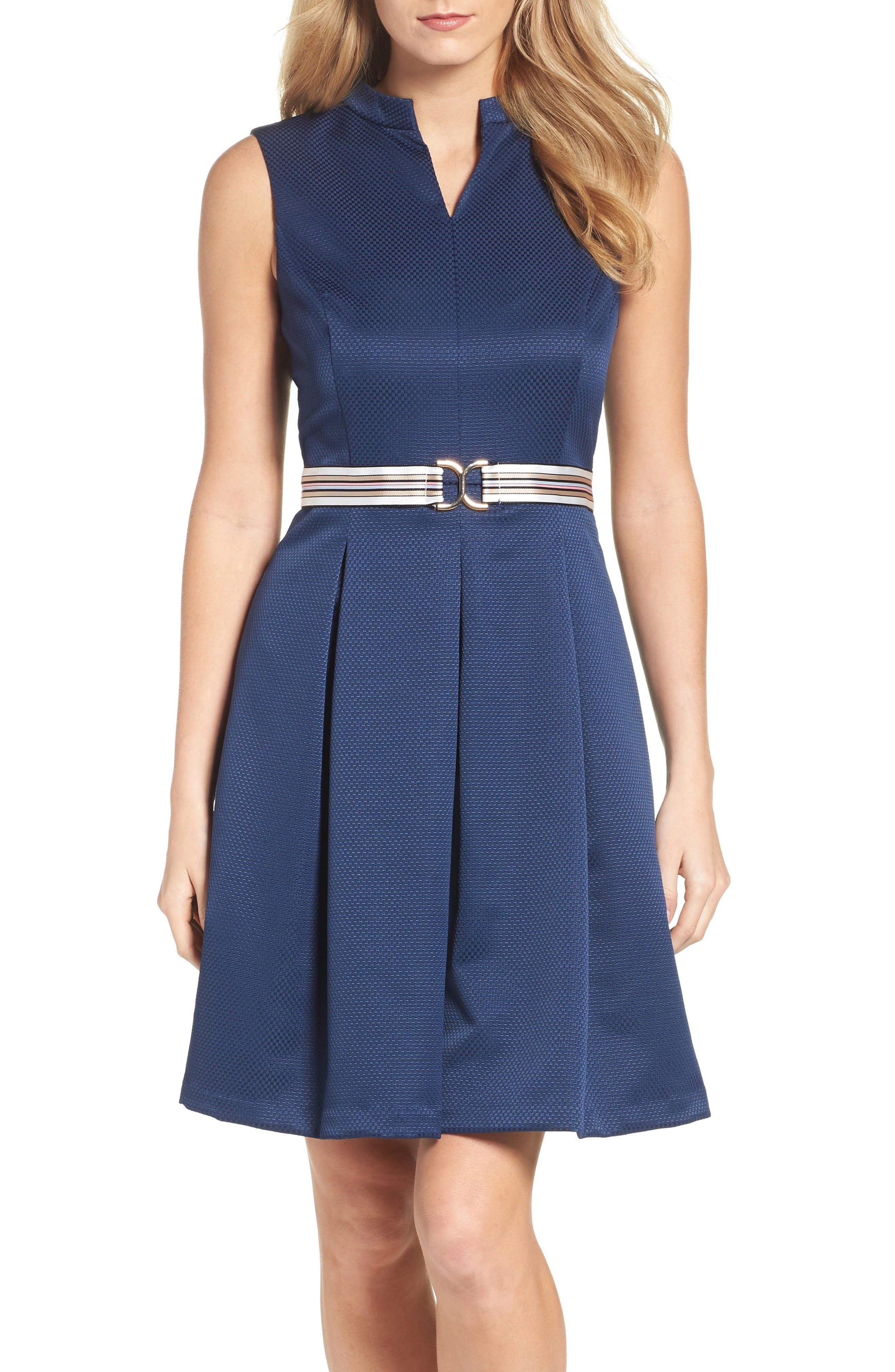 Main Image - Ellen Tracy Belted Fit & Flare Dress