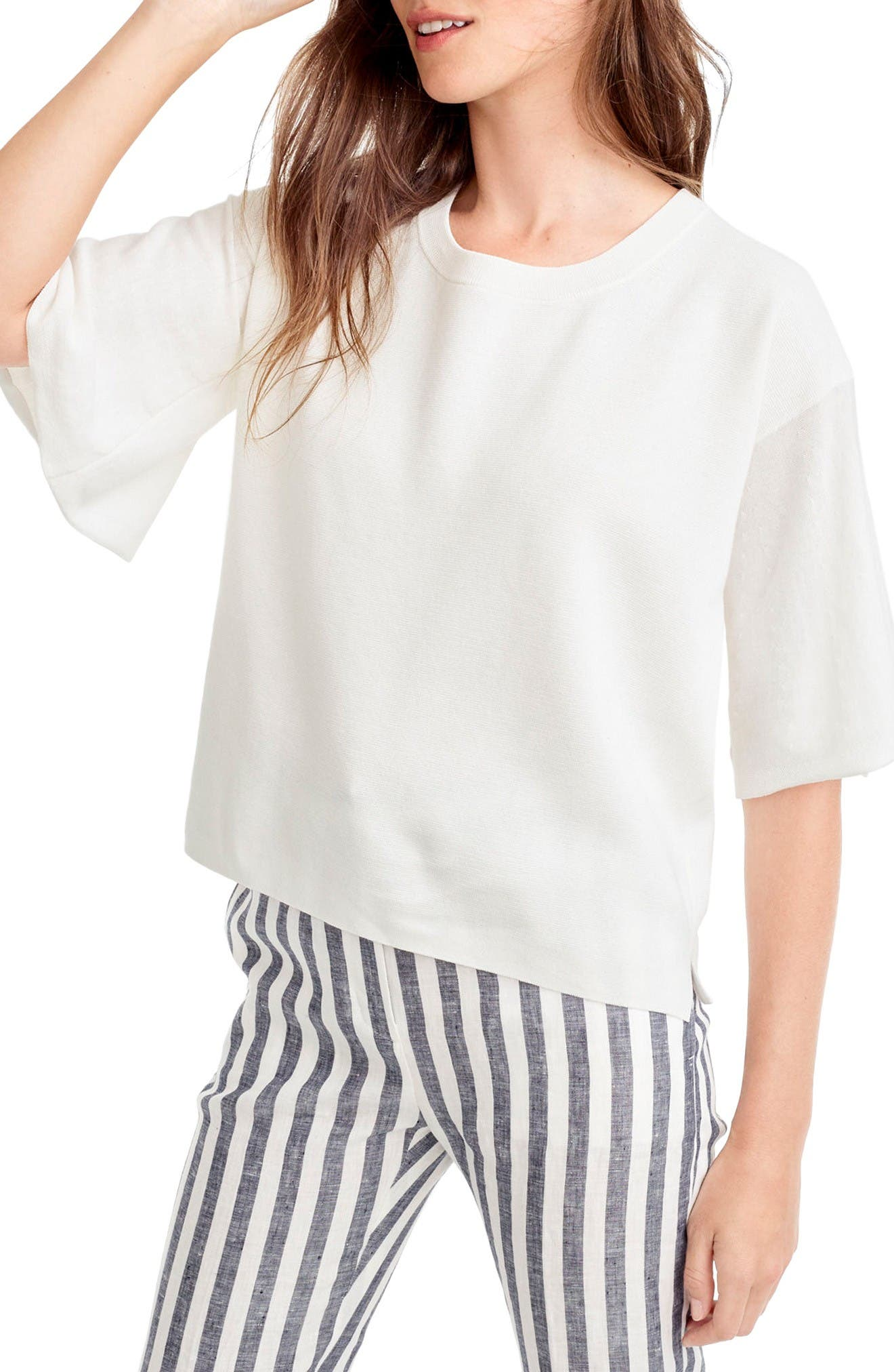 Alternate Image 1 Selected - J.Crew Dramatic Sleeve Summerweight Cotton Sweater