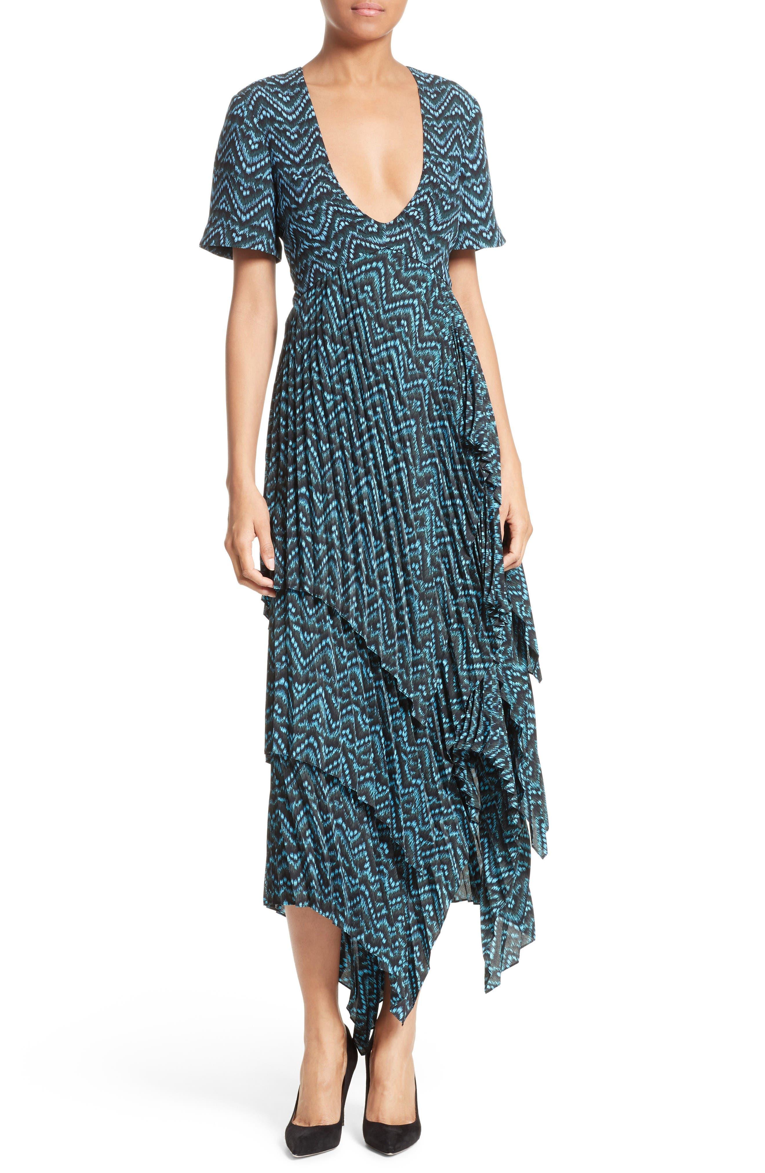 A.L.C. Kylia Pleated Silk Midi Dress