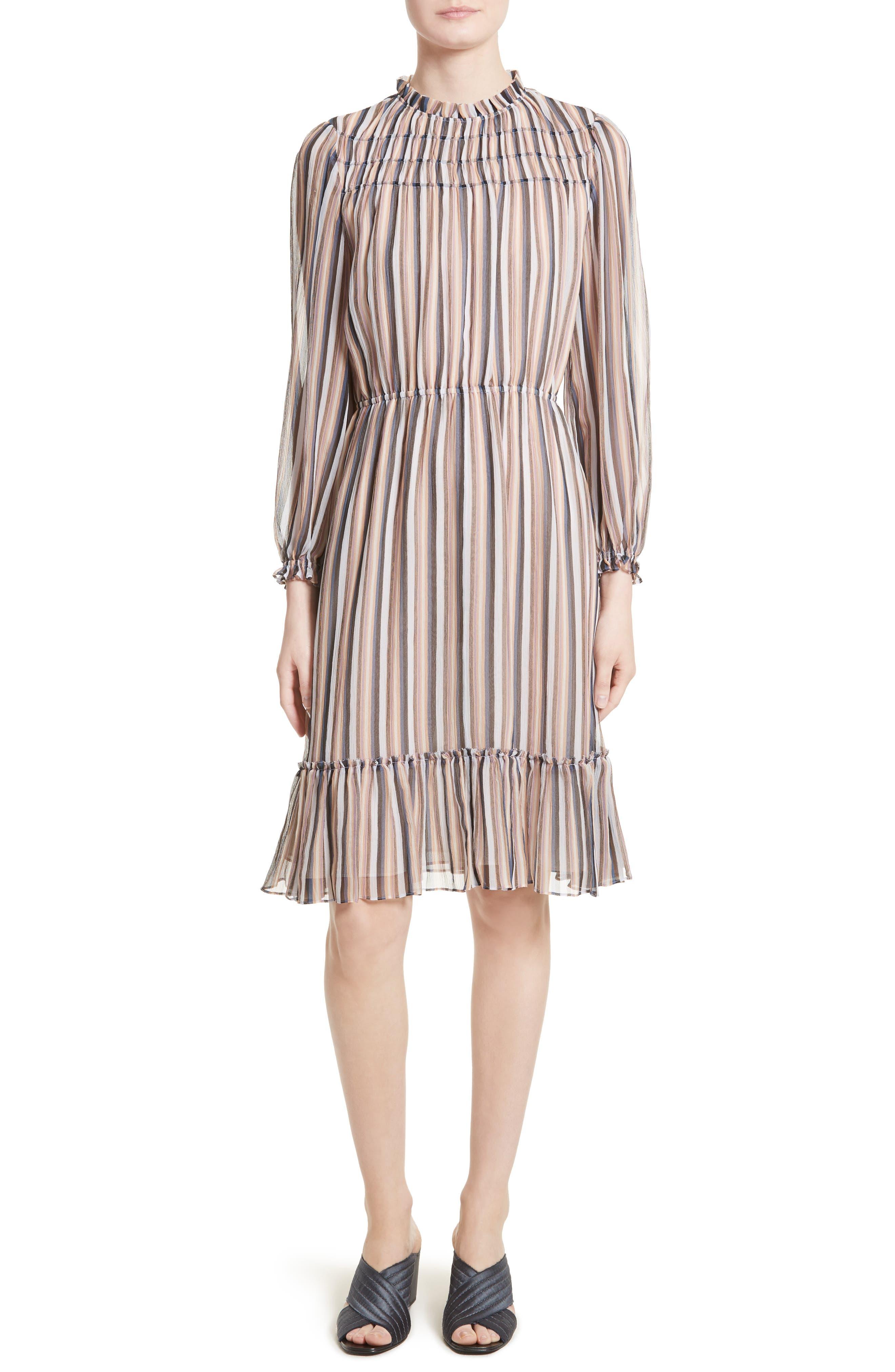 Alternate Image 1 Selected - Derek Lam 10 Crosby Stripe Ruffle Dress